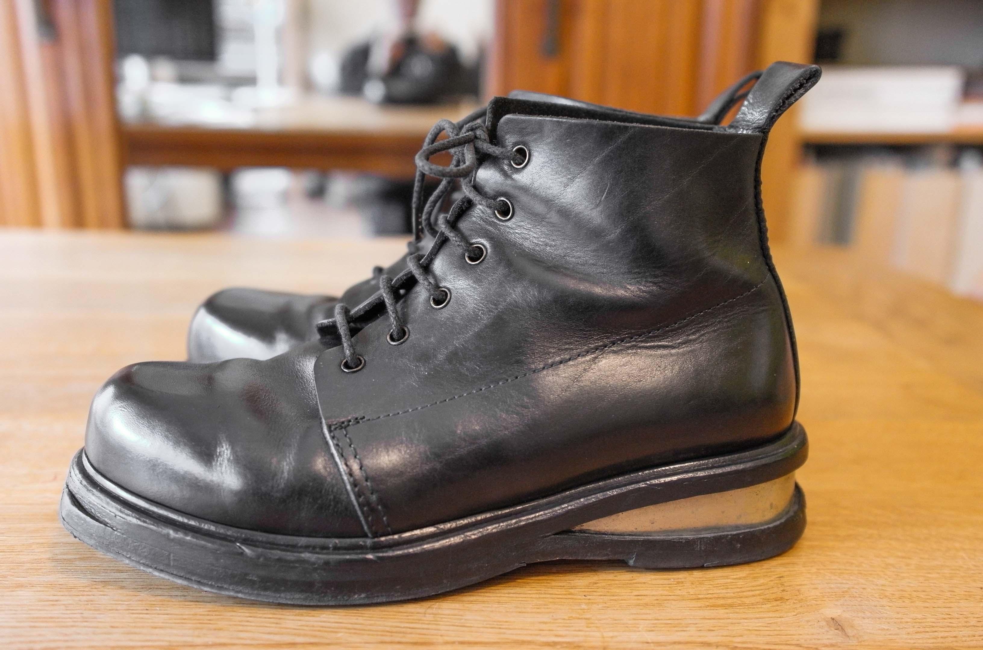 ef324ad7462 Dirk Bikkembergs. Antwerp 6 period 90s black metal heel combat boots. Size   US 7.5 ...