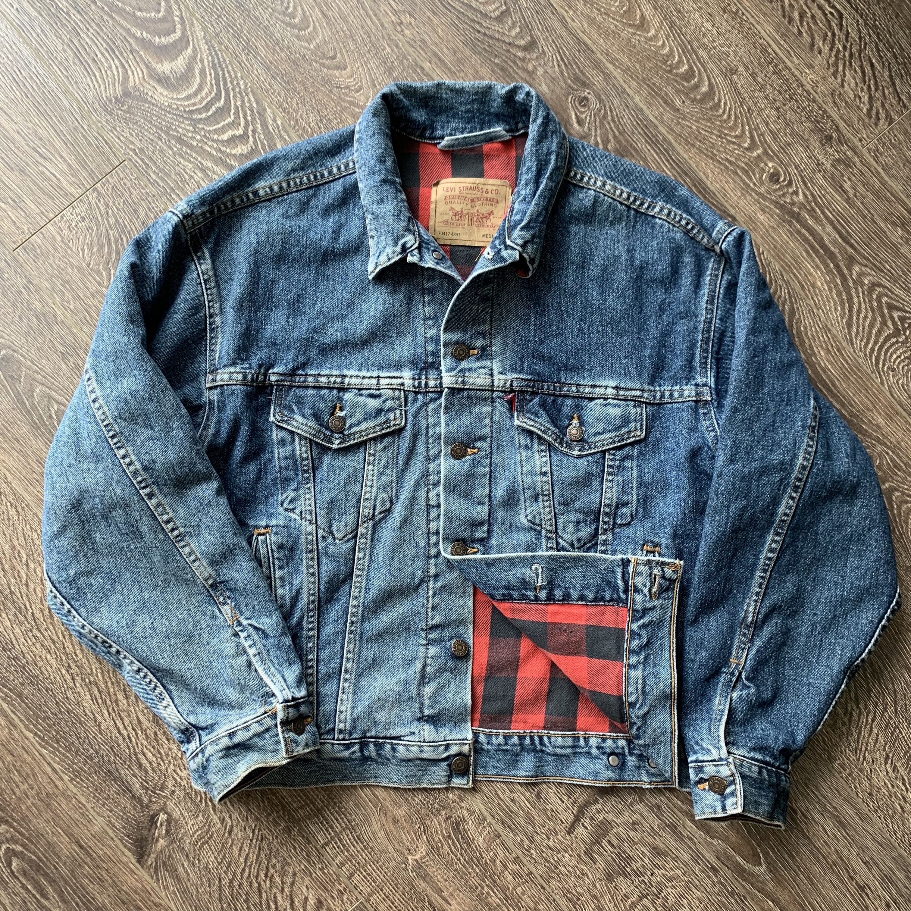 c57b786e Vintage × Levi's × Made In Usa ×. Vintage 90's Levi's Flannel Lined Trucker  ...