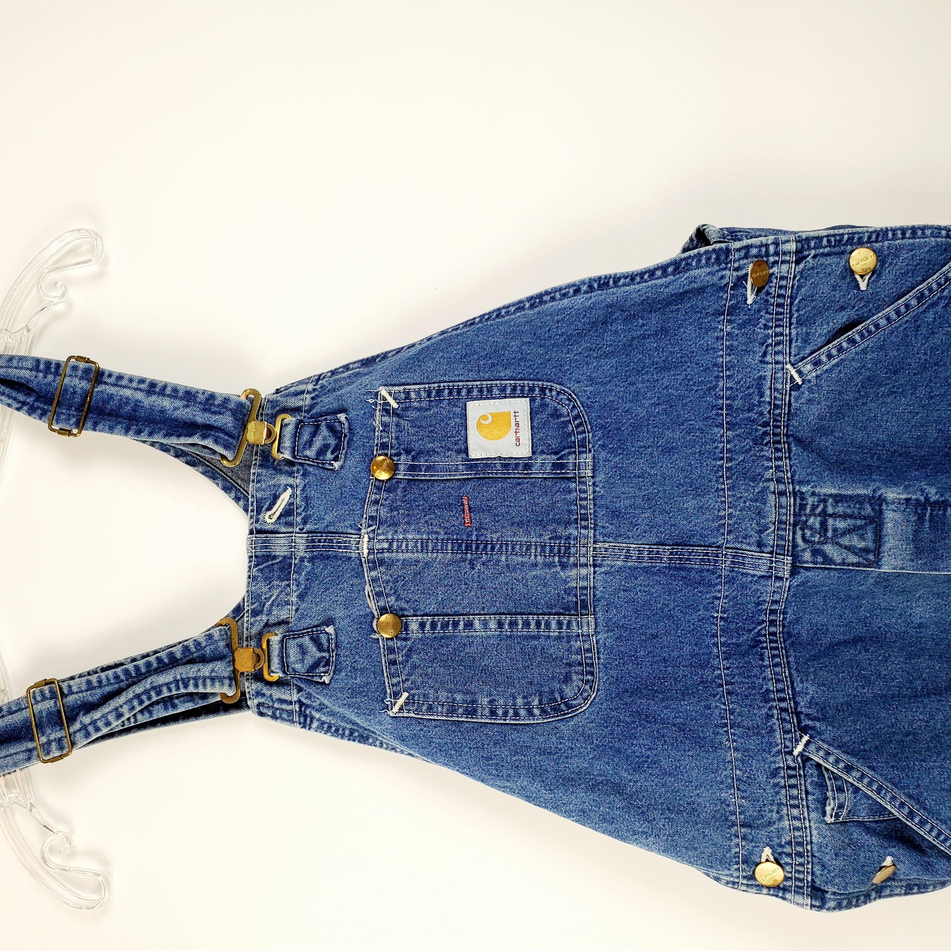 Vintage Carhartt Denim Work Dungarees Blue Bib Overalls Trousers M  L