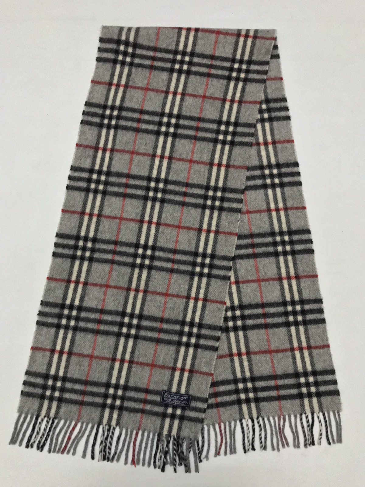 Burberry Gray Lambswool Muffler Nova Check Scarf Size one size ... bc8c5a5275b