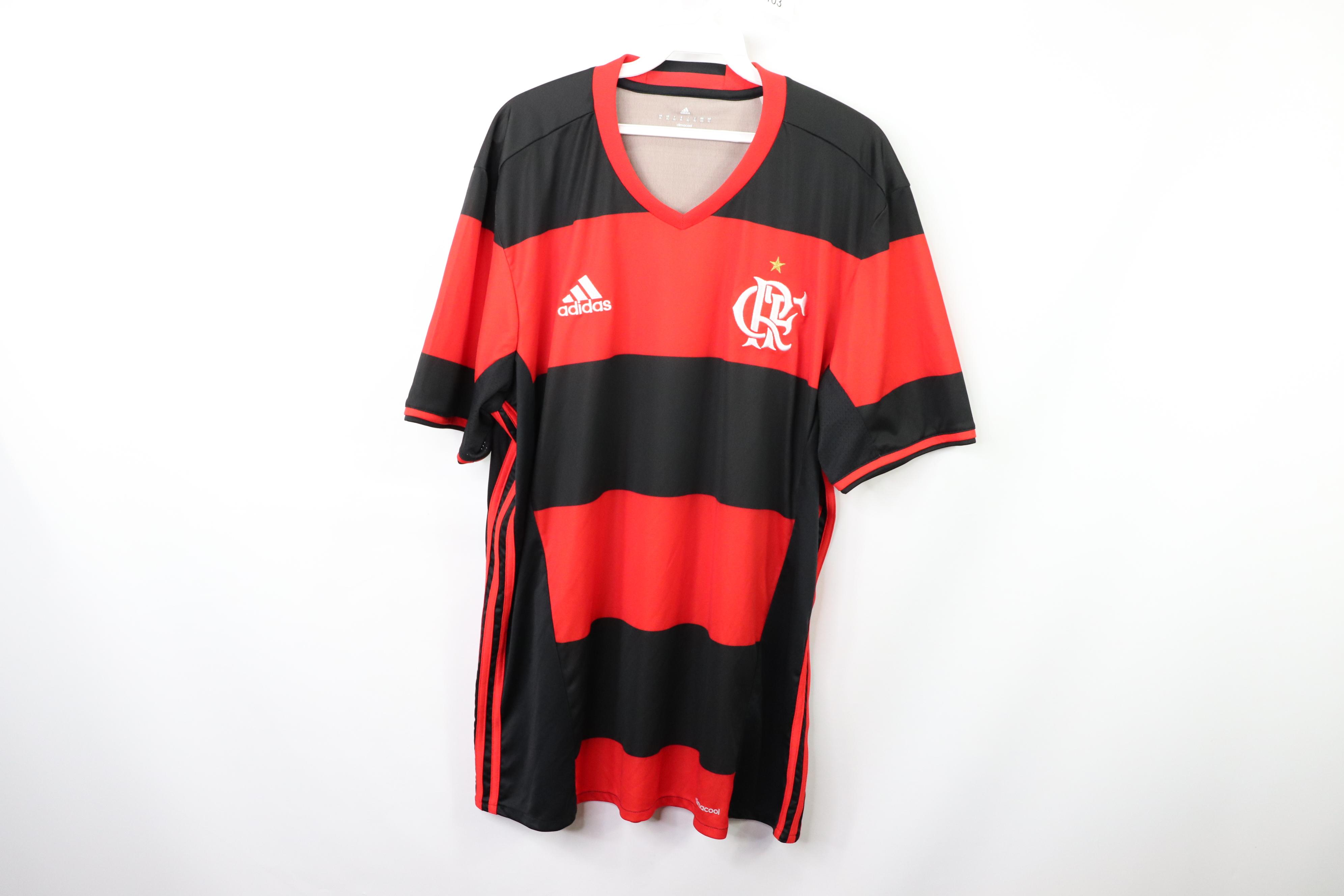 Adidas Adidas Mens XL Clube de Regatas do Flamengo Brazil Soccer Jersey Red Black