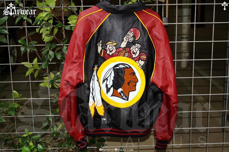 new products 7082d 9a9f9 90s Vintage The Flintstones Redskins NFL Leather Jacket M L