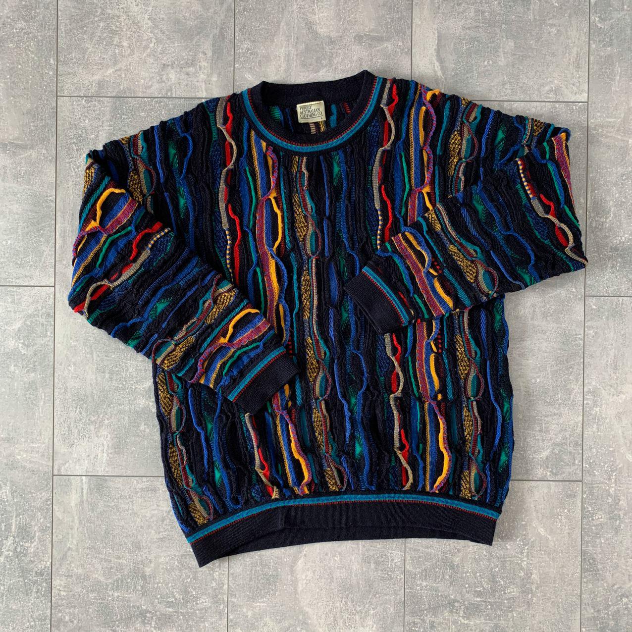 3D Op Art Zig Zag Patterns Crew Neck COOGI Australia Sweater L Vintage Textured Pullover Large Cotton Unique Rich Bold Rainbow Colors