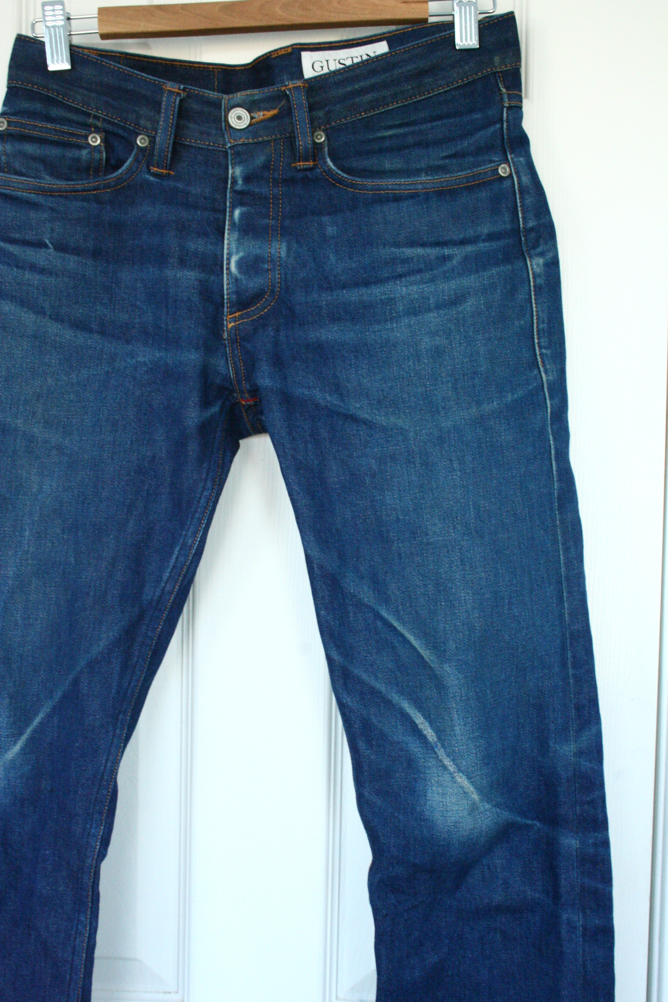 great discount lace up in top-rated newest Gustin #290 Cone Natural Indigo Selvage Denim USA Mills California Size 29  30 Faded Worn Used Jeans