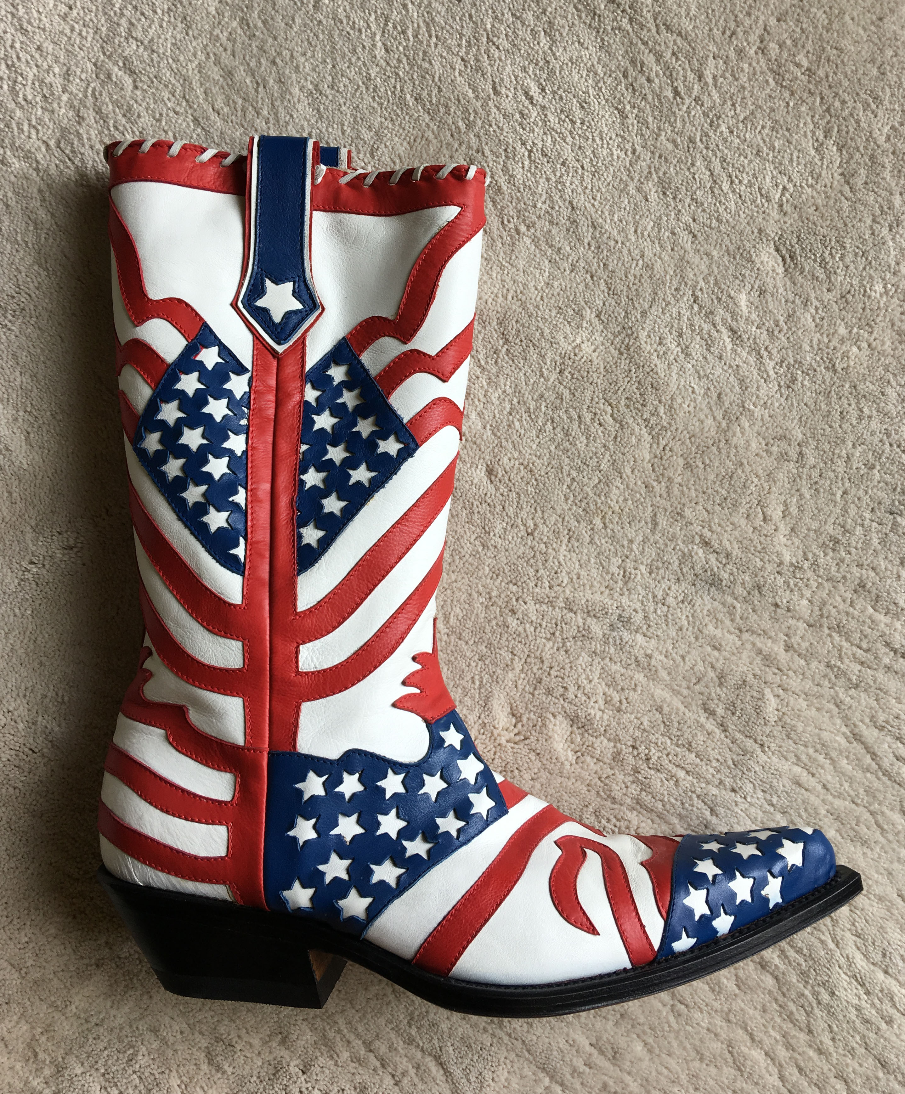 HANDMADE in italy OVEST cowboy BOOTS w/USA Flag Overlay sz 41 EUR | 8 US