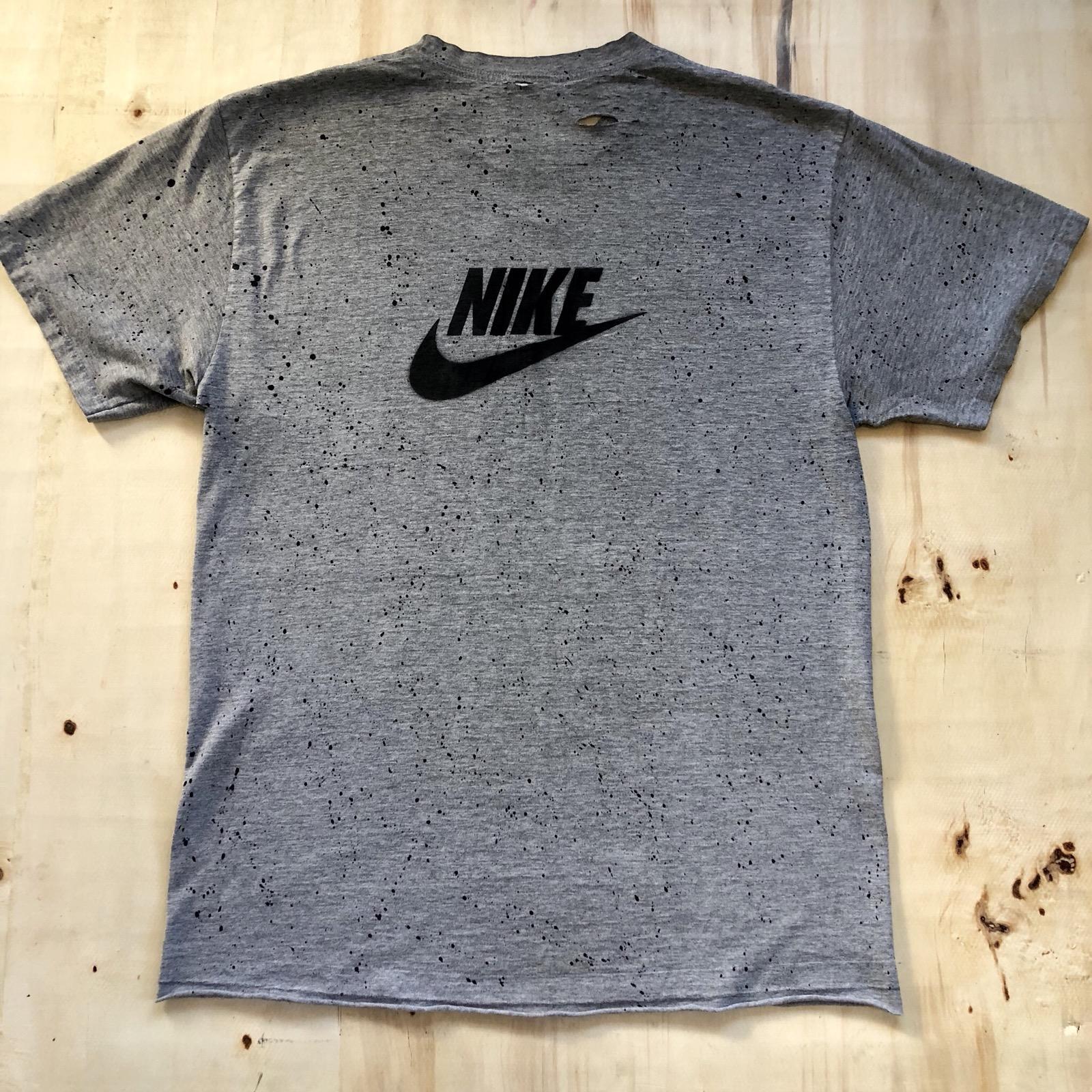 Nike Custom Vintage Paint Splatter And Distressed Nike Tee Size L