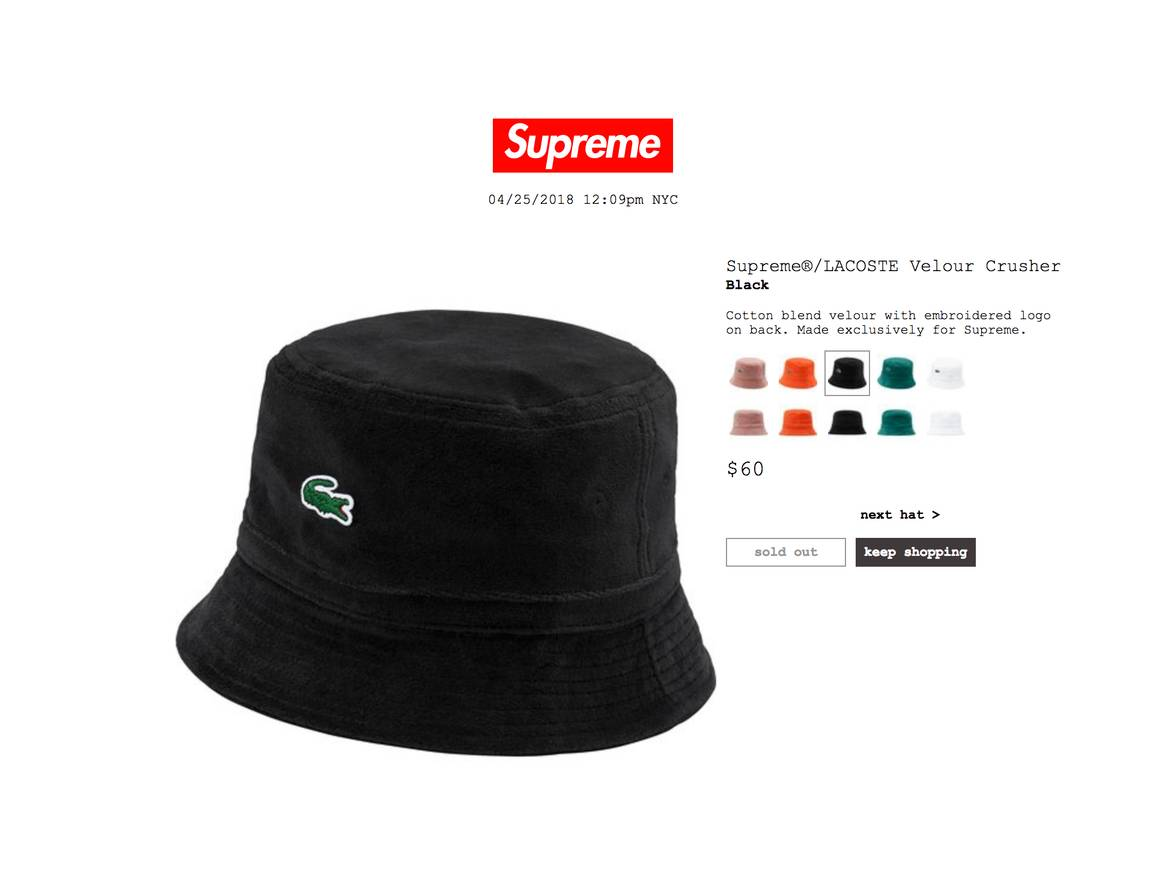 Supreme Supreme Lacoste Velour Bucket Hat Size one size - Hats for Sale -  Grailed 7491ff2ed1a