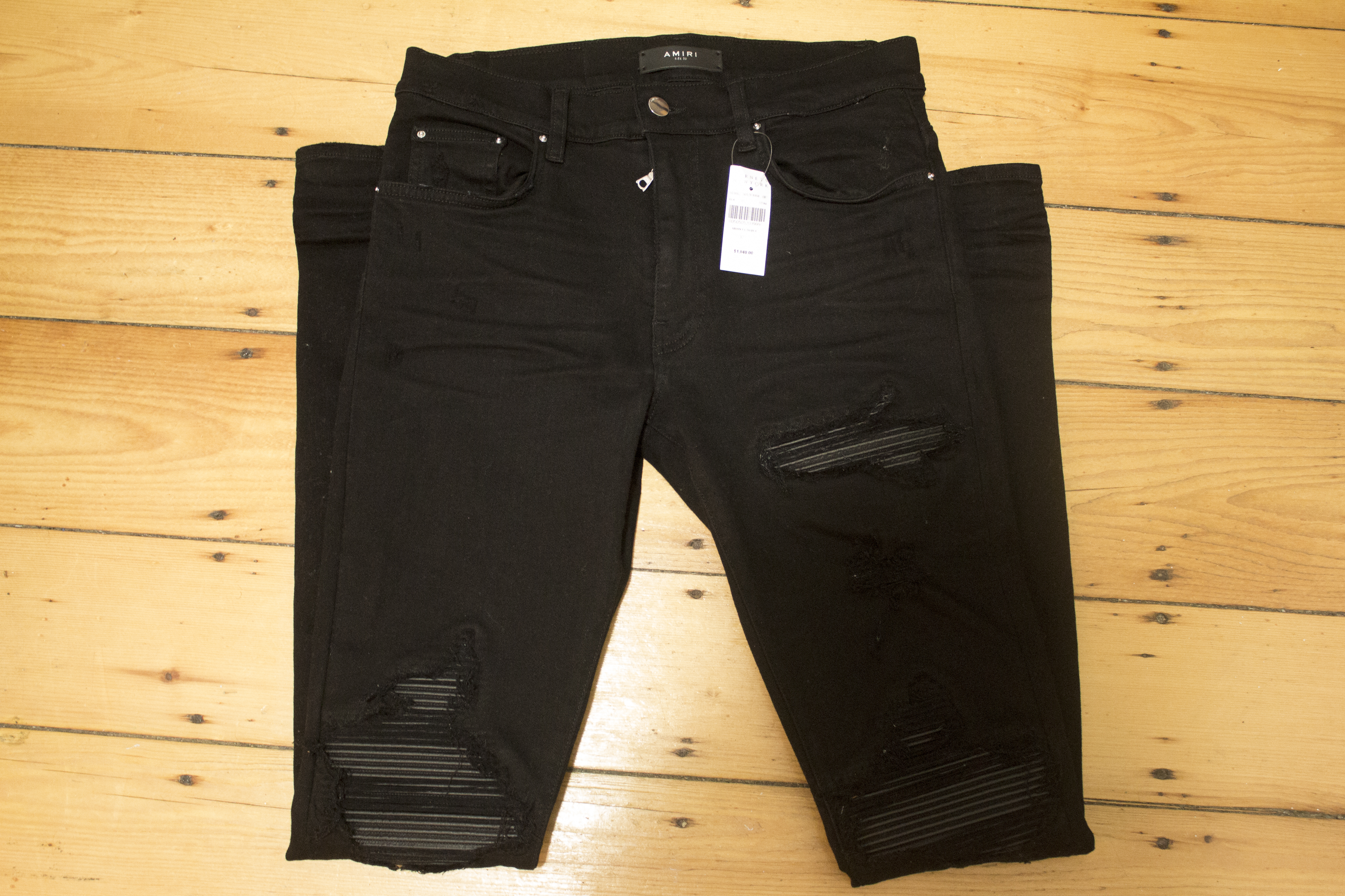 d1e1a31f2fe670 Amiri Amiri Mx1 Leather-inset Slim Jeans Size 32 | Grailed
