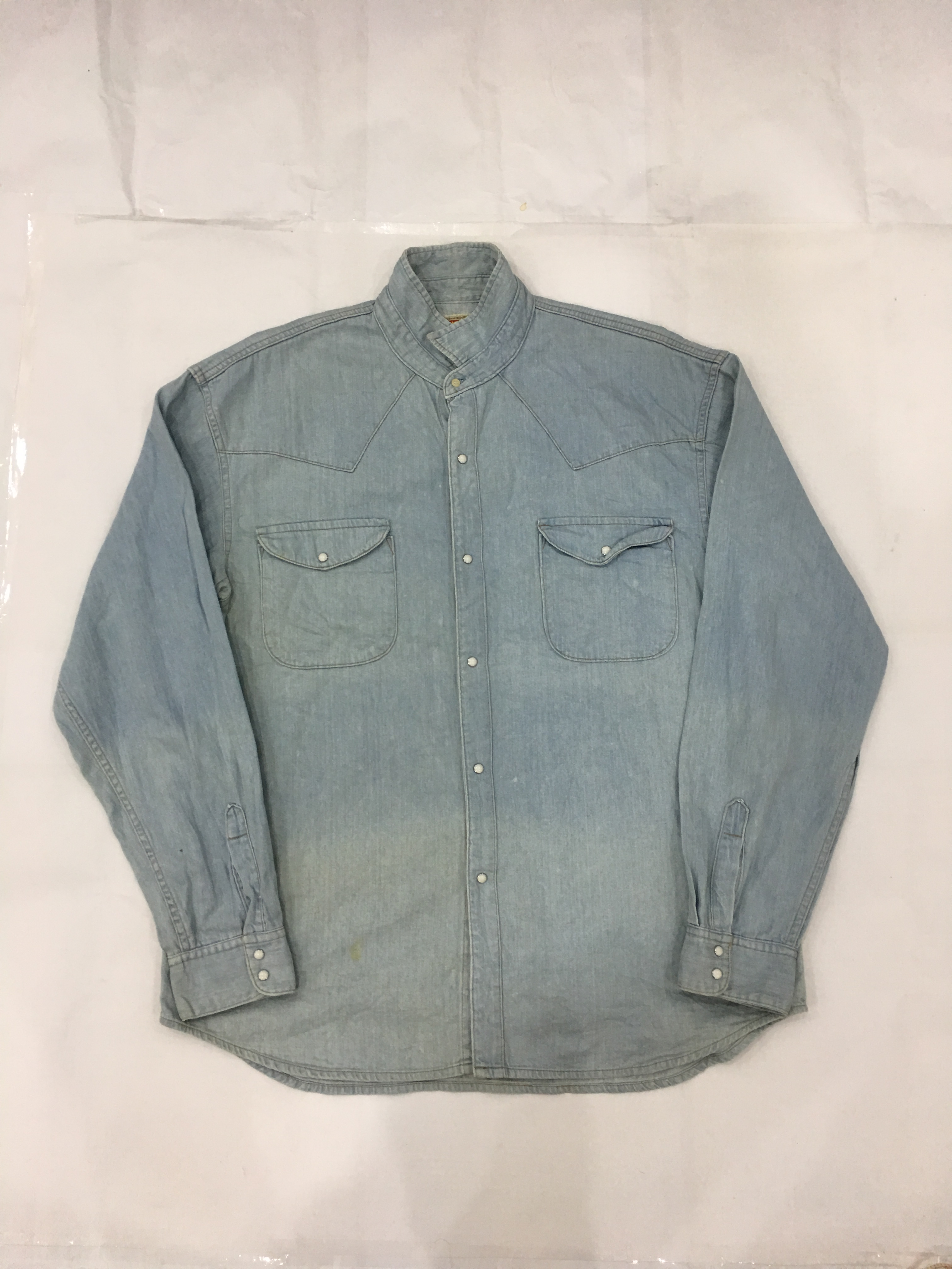 ea9939135ed1 Big John Big John Denim Shirt Men Western Shirt Chambray Blue With ...