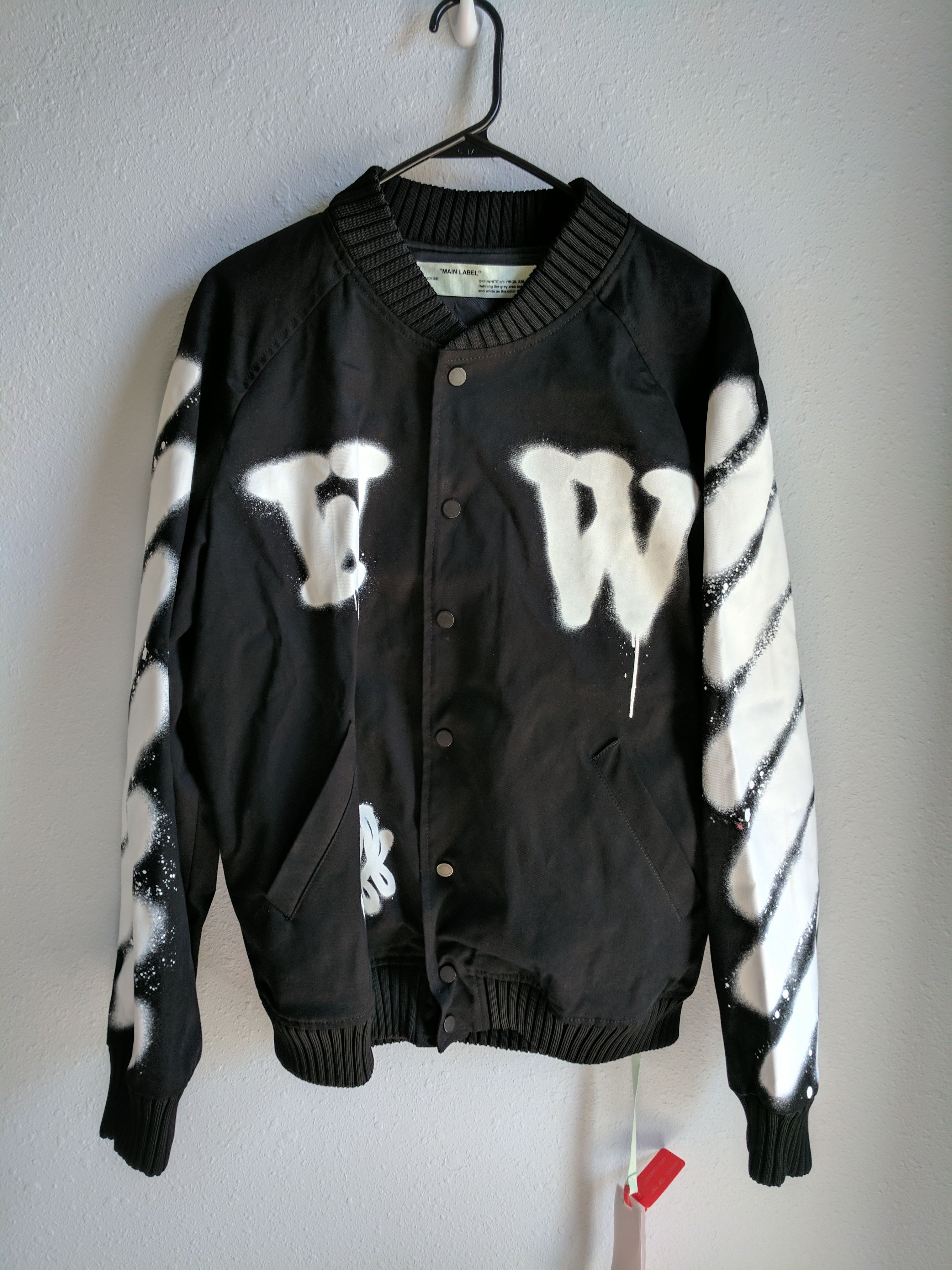 8a0a813c8aad Off-White Spray Paint Varsity Jacket Size l - Bombers for Sale - Grailed
