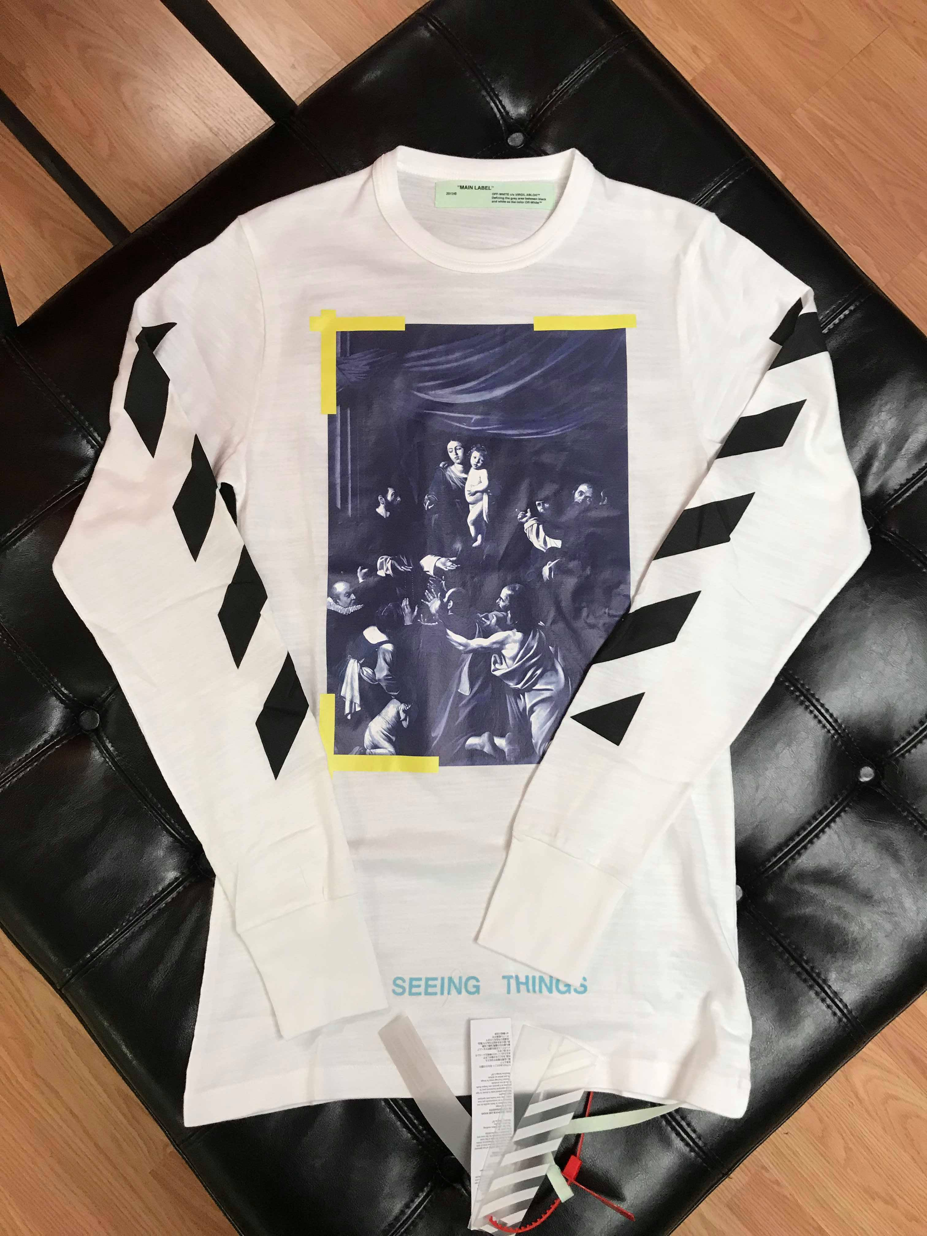2c67fc931 Off-White. Off White Carravaggio Seeing Things White LS Long Sleeve Tee ...