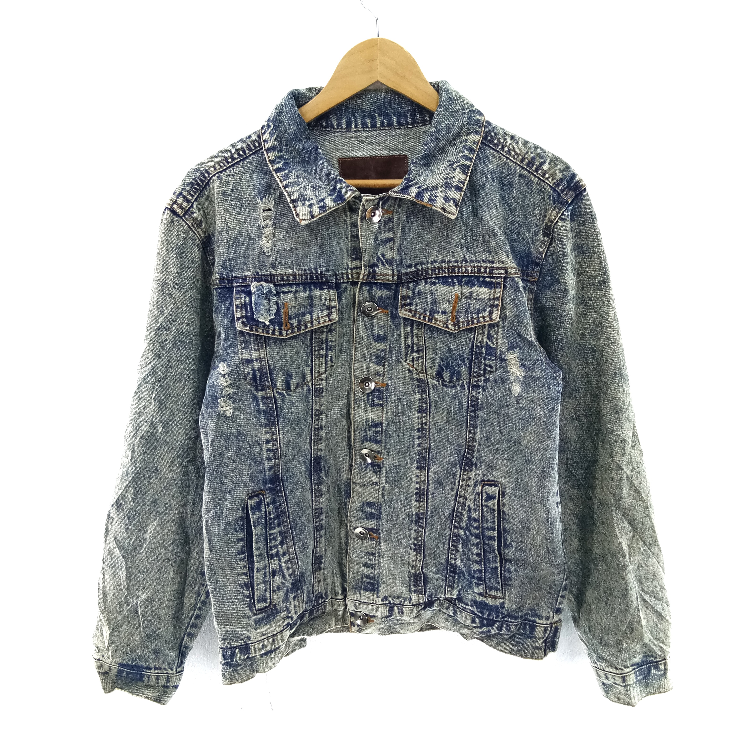 MU2M Men Retro Cotton Loose Ripped Distressed Letter Print Denim Jeans Trucker Jacket