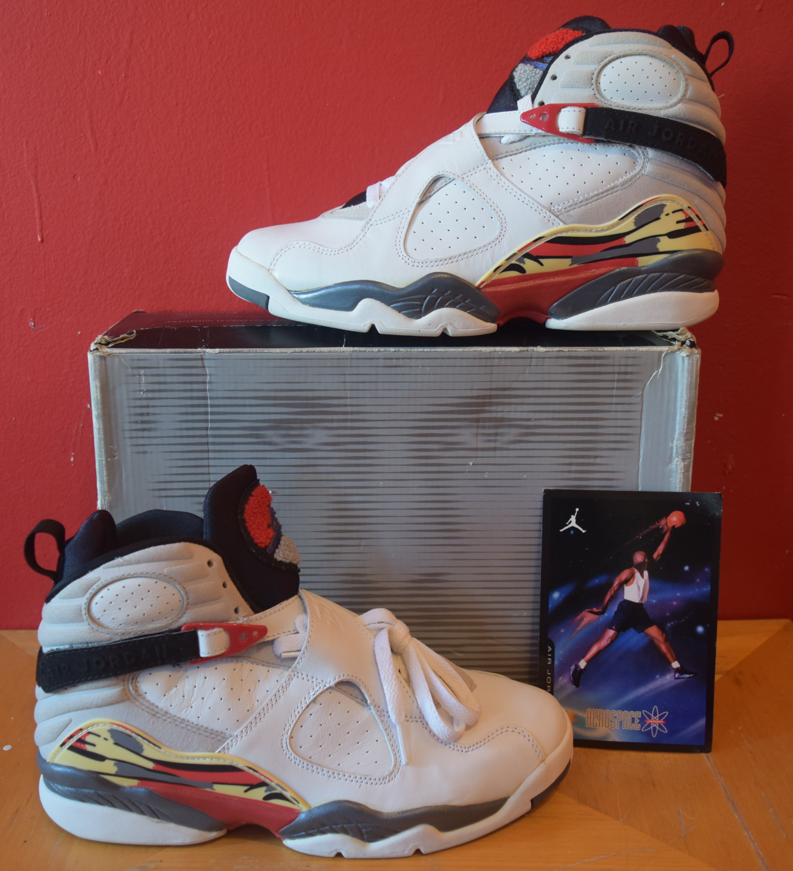 pretty nice 57b14 f2bb0 Jordan Brand. Details about Air Jordan VIII 8 Retro 2003 NEW Size 9 White True  Red Black DEADSTOCK