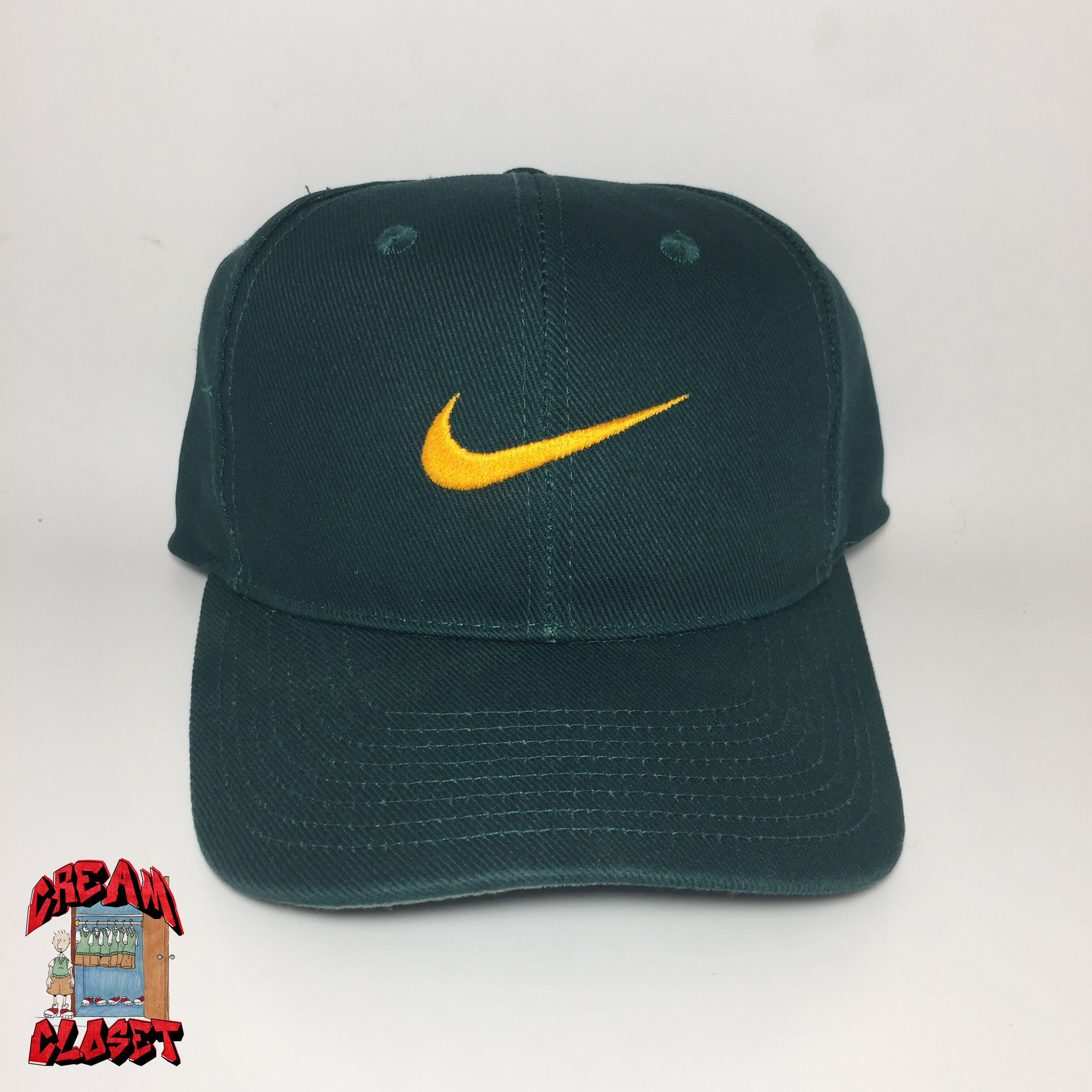d3036f878 VINTAGE GREY TAG NIKE EMBROIDERED SWOOSH LOGO SNAPBACK HAT CAP IN GREEN AND  YELLOW