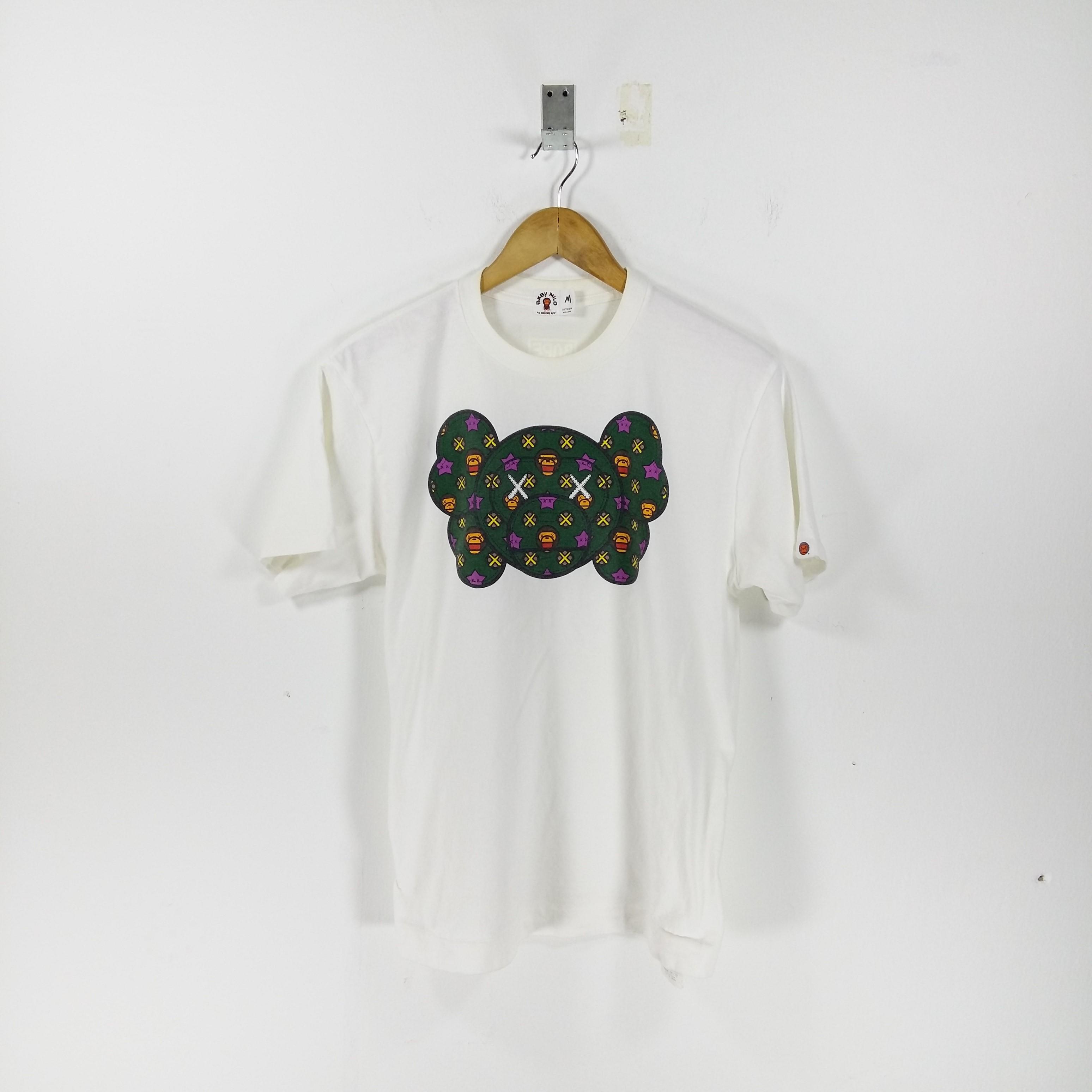 bab284bb4 Bape × Kaws ×. ( Need Gone Today )Baby Milo X KAWS By BATHING APE White  Tshirt Short Sleeve Logo Print Size Medium