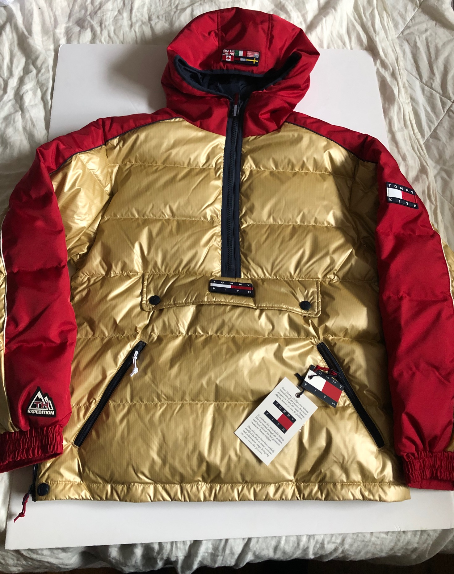 kith x tommy hilfiger expedition puffer pullover gold