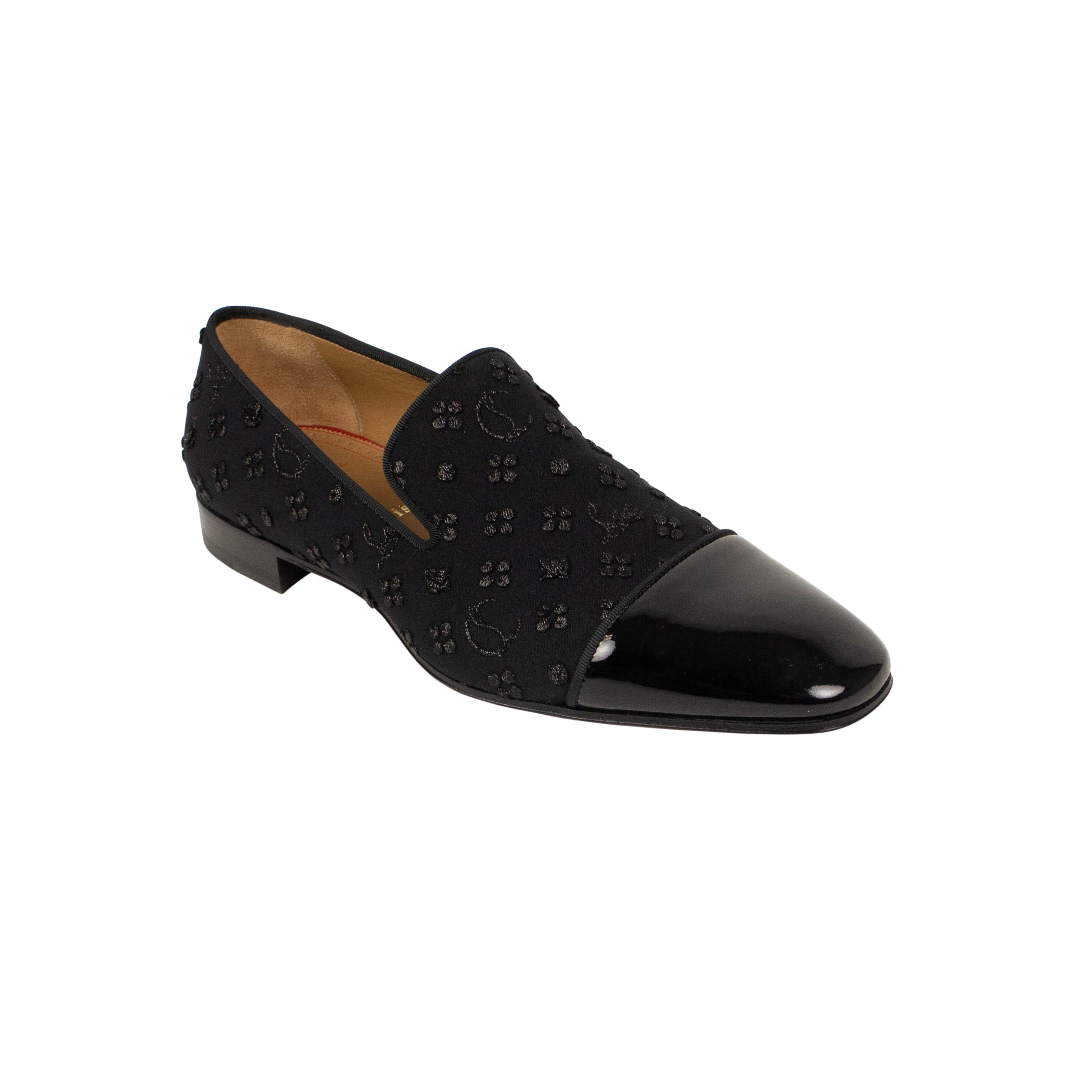 f5a824250 Christian Louboutin ×. Black Jacquard And Patent Dandelion Loafers Shoes.  Size: US 8 / EU 41