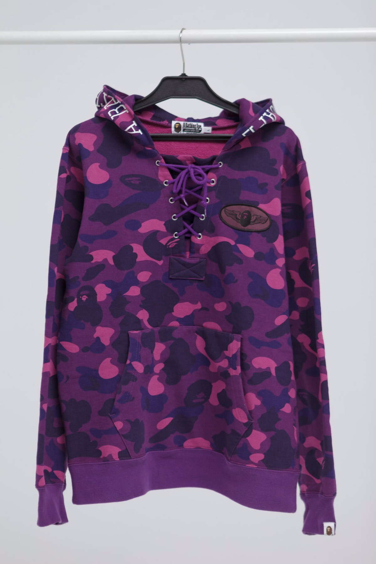 682857d6d0fa Bape A Bathing Ape Color Purple Camo Lace Up Pullover Hoodie 16FW Size l -  Sweatshirts   Hoodies for Sale - Grailed