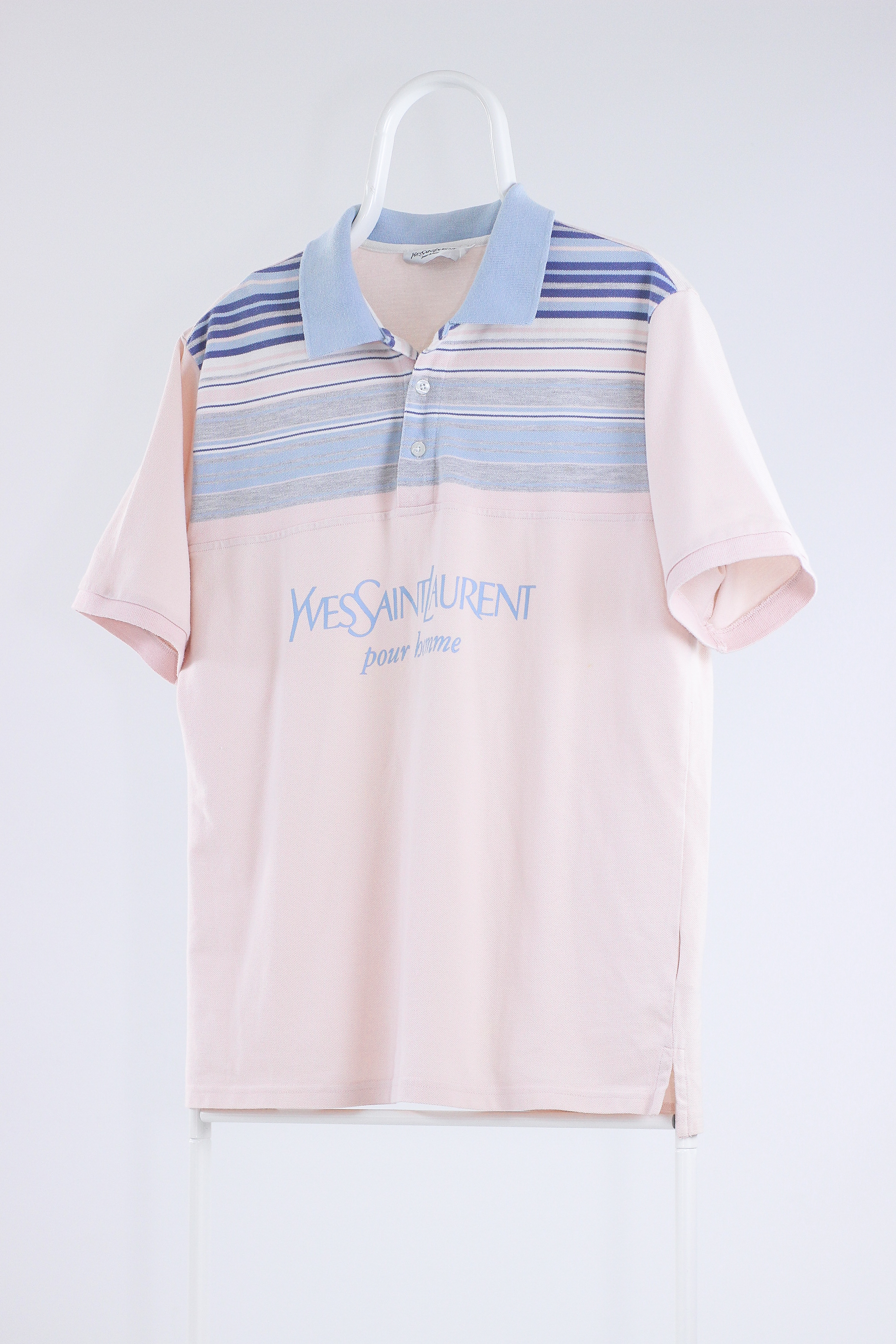 f0839089c79 Vintage × Ysl Pour Homme × Yves Saint Laurent ×. Vintage Mens YSL Yves  Saint Laurent Striped Big Logo Polo Shirt Top