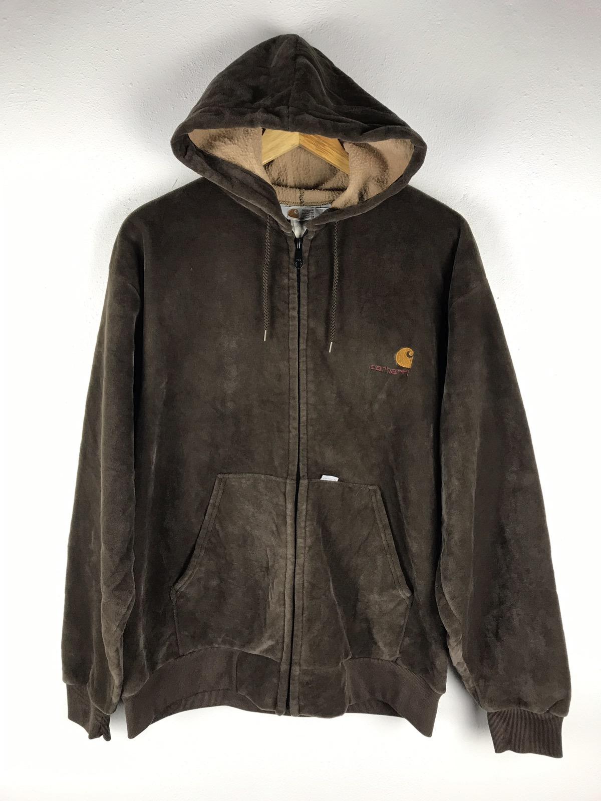 Vintage Carhartt Velvet Hoodies Jacket Rugged Outdoor Wear Made Usa Grailed