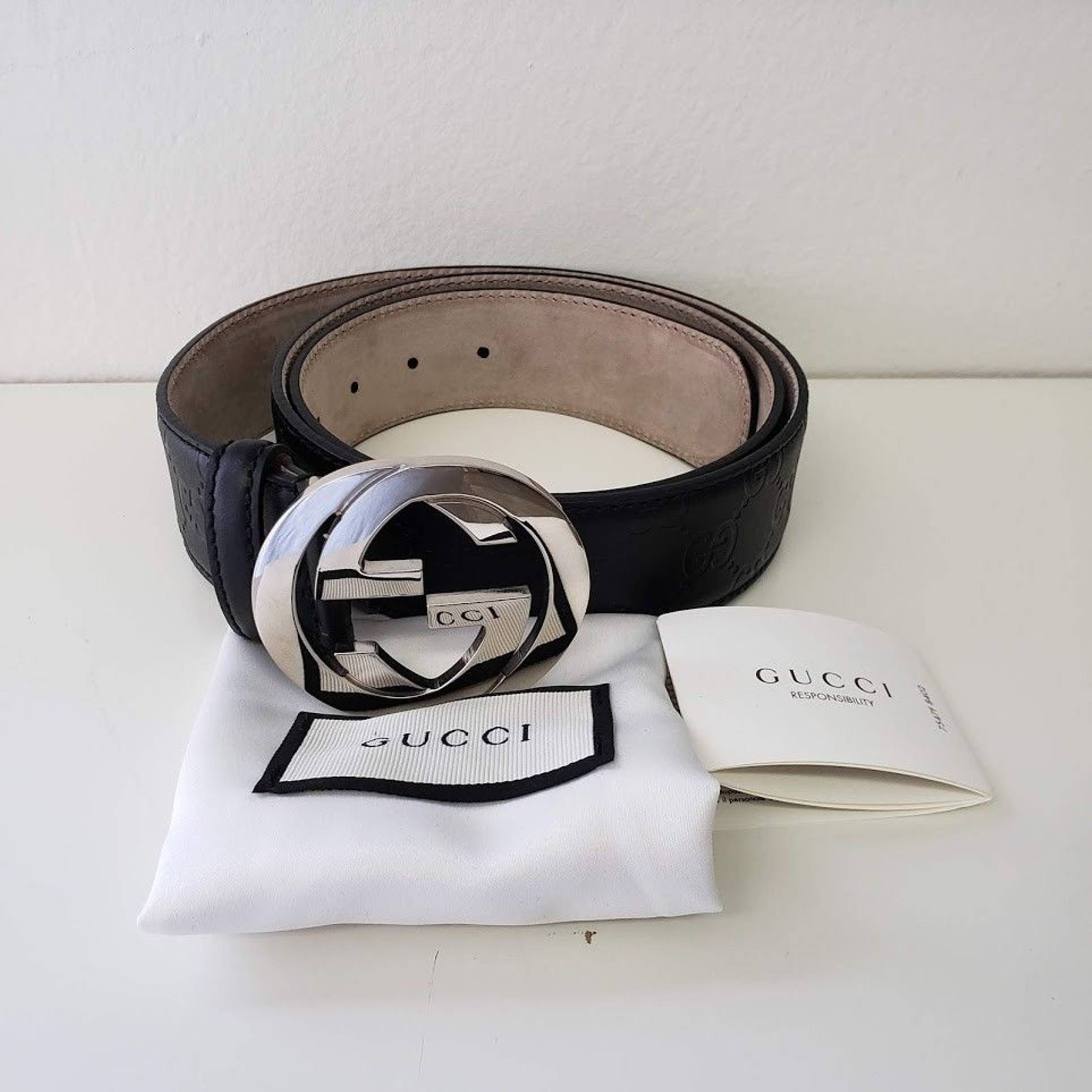 4a511167a68 Gucci ×. Gucci Interlocking GG Monogrammed Guccissima Unisex Leather Belt -  Black