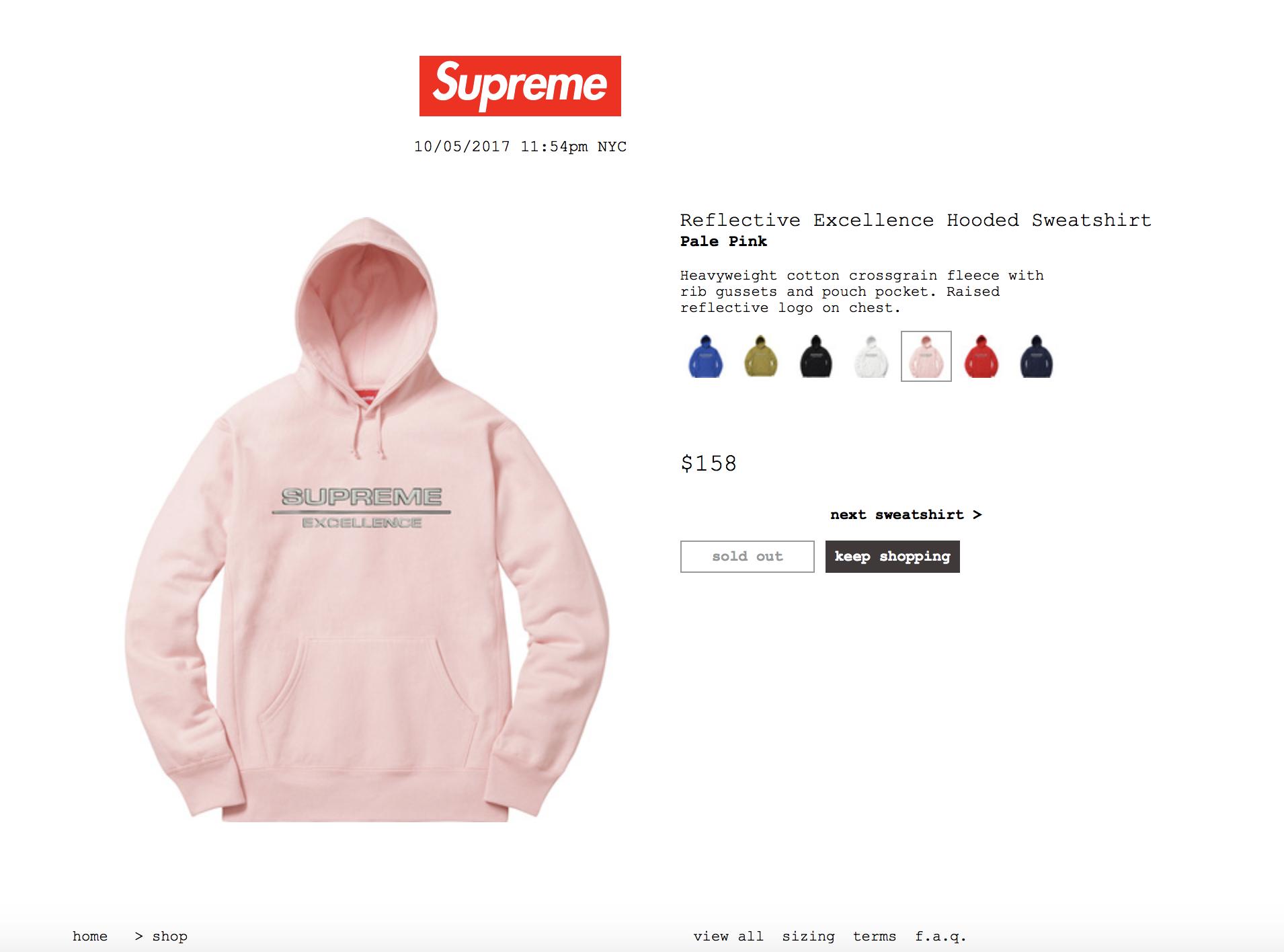 Supreme Supreme Reflective Excellence Hooded Sweatshirt Pink [ 1416 x 1910 Pixel ]