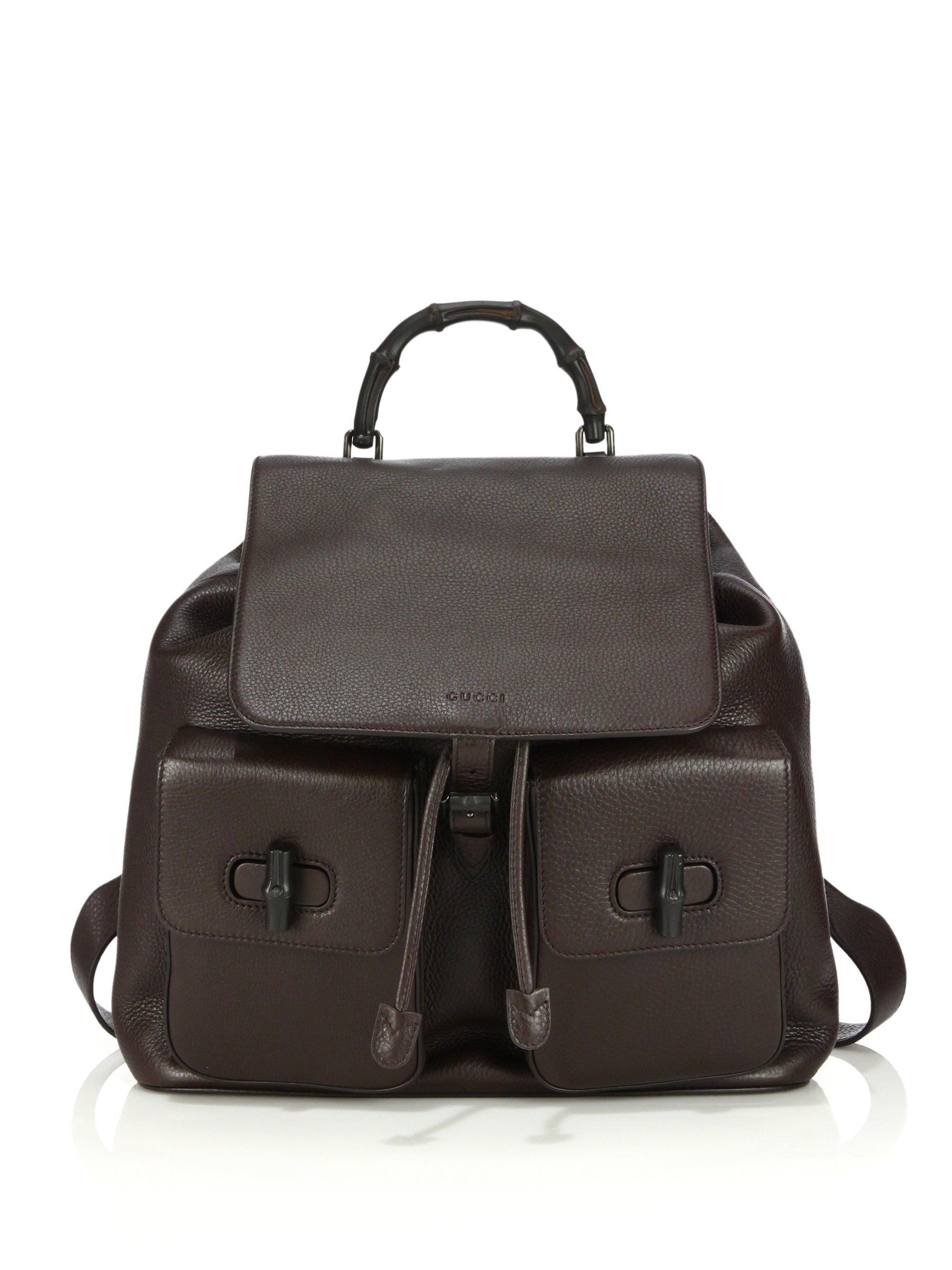 3999d07545e Gucci Bamboo Leather Backpack - Brown