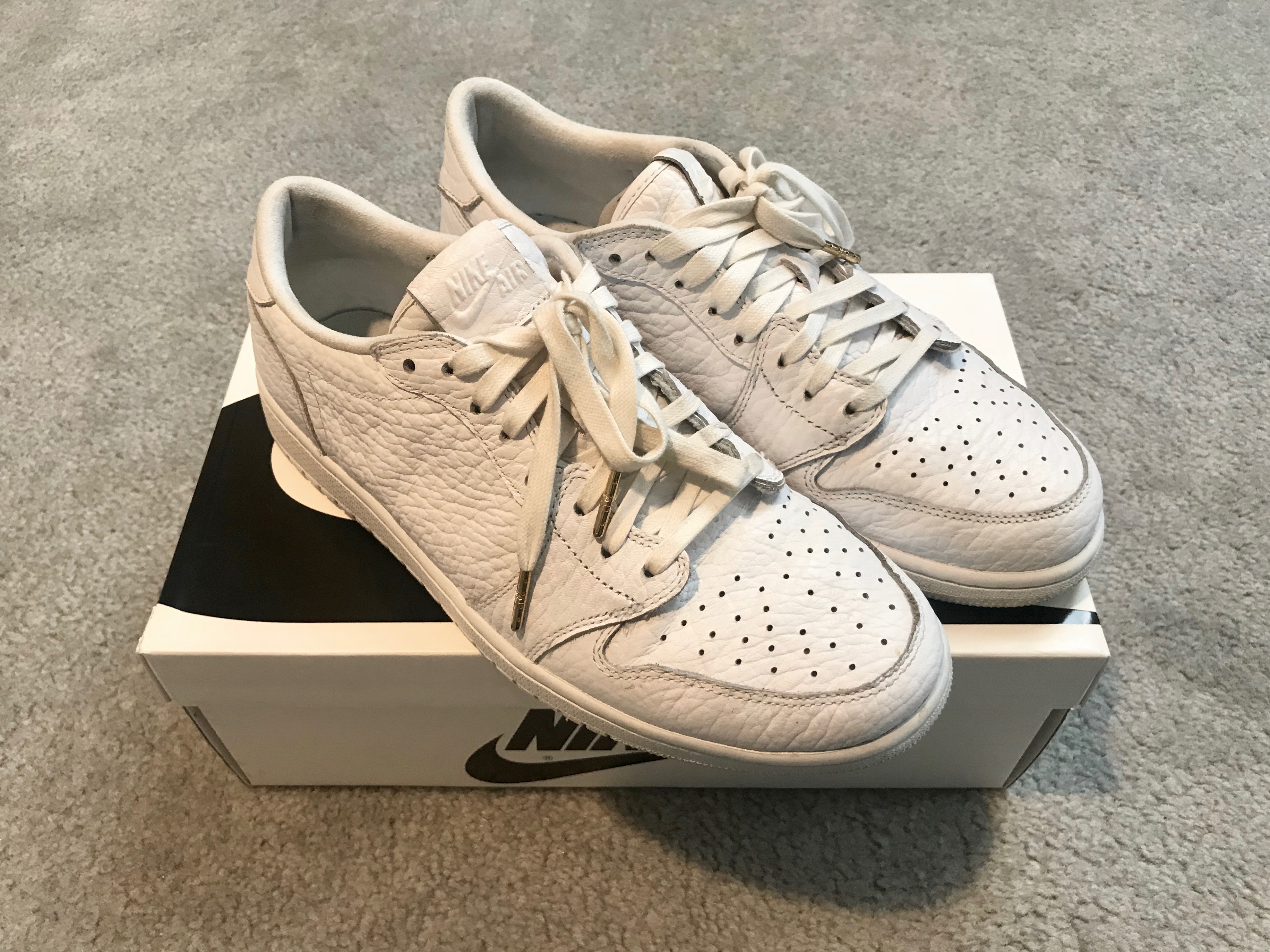 392de719872b3c Nike Jordan 1 Low NS No Swoosh Triple White Size 10.5 - Low-Top ...