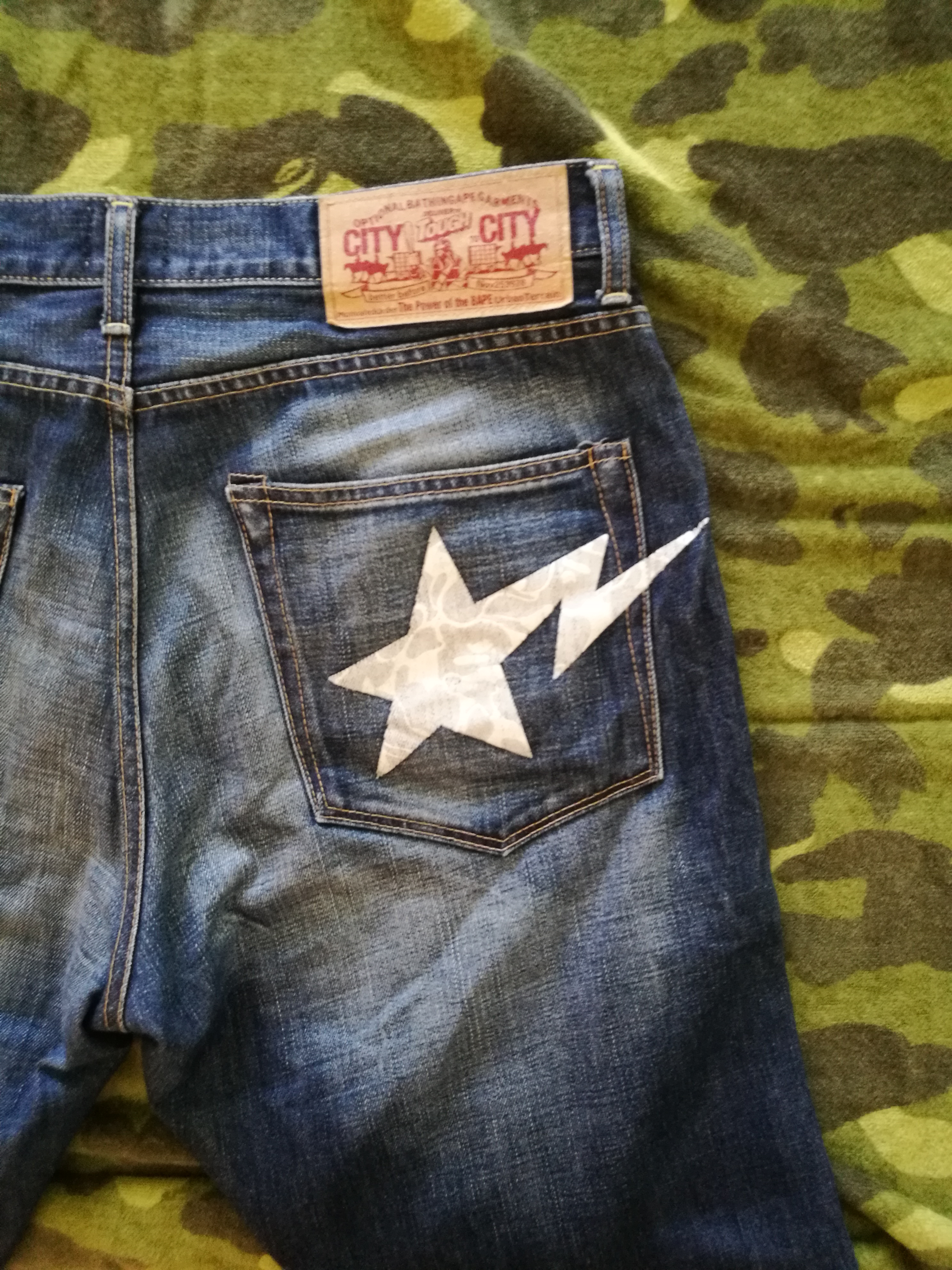 7110fee492bd Bape A Bathing Ape Denim Pants White Star Camo Bapestas Size 33 ...