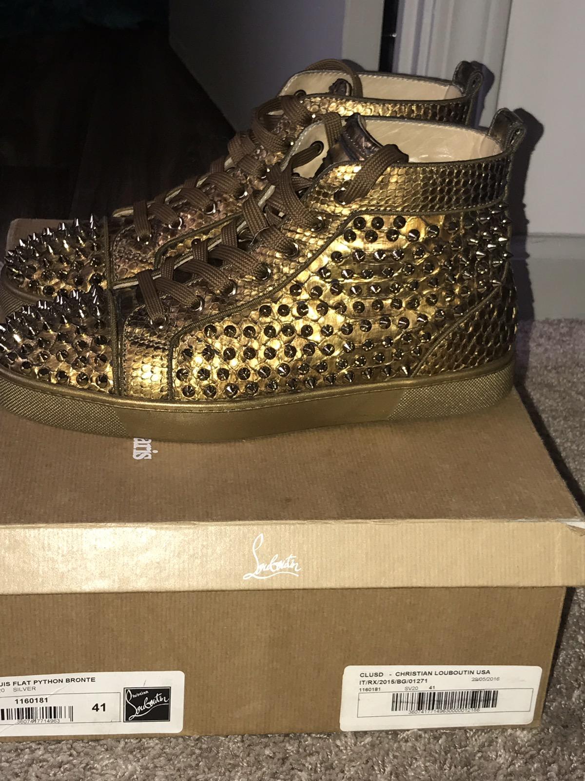 a06e80fa650 Christian Louboutin Louis Orlato Flat Gold Python Spikes Sneakers ...