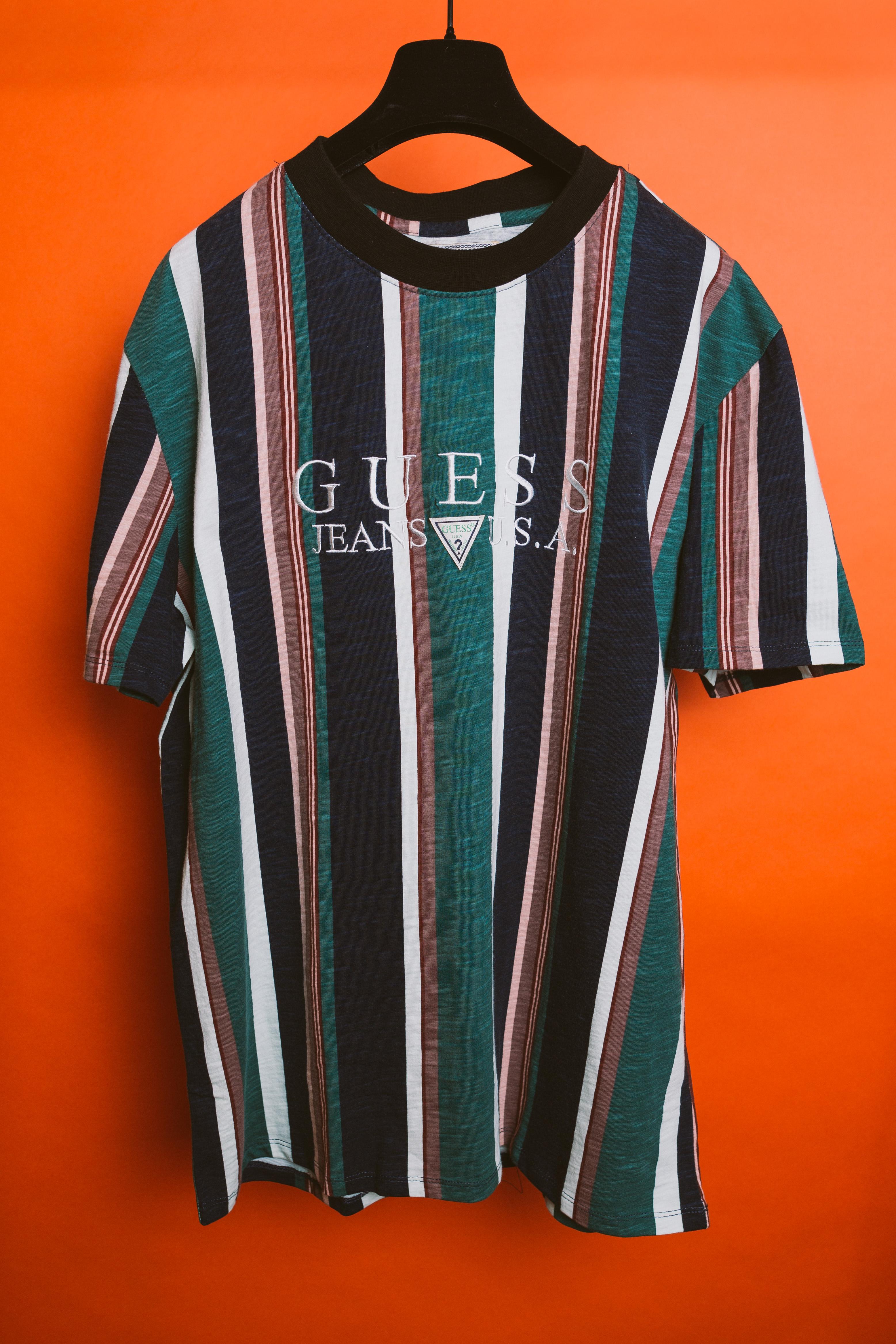 f67dd3e4f33c Guess Jeans Usa 1981 Capsule Striped T Shirt Asap Vintage Vertical ...