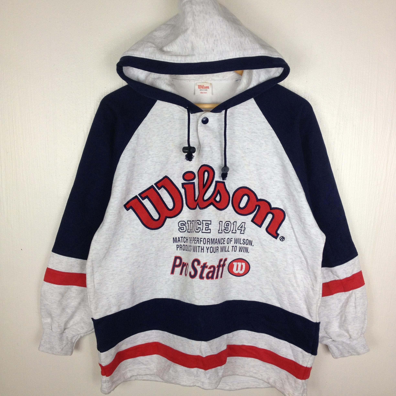 5e612c1e8 Wilson Athletics ×. Vintage 90s WILSON PRO STAFF Tennis Embroidery Raglan  Red Blue and White Hoodie ...