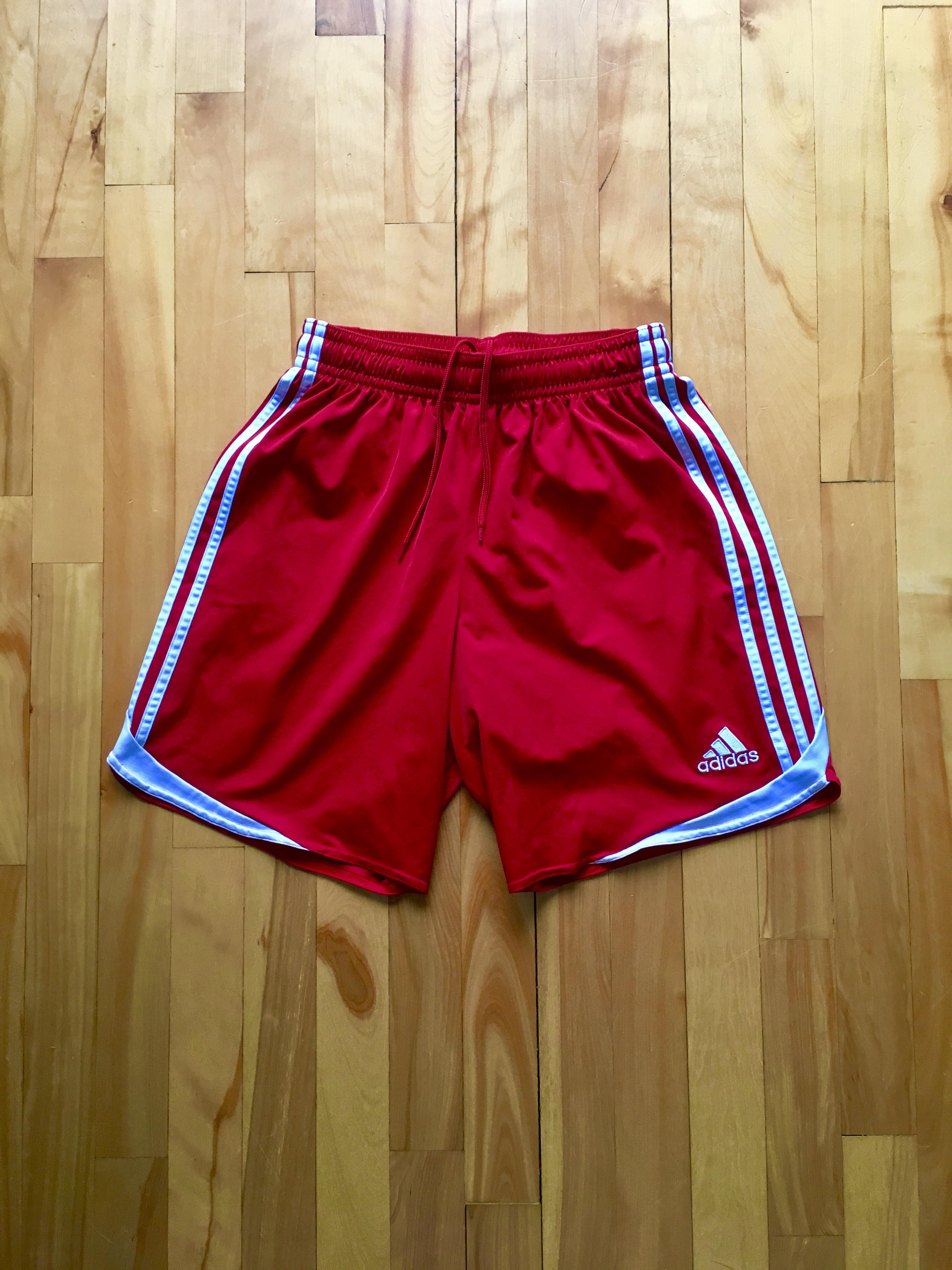 2ebf5176fa Adidas ×. Adidas ClimaCool Classic 3 Striped Red Sport Short 90s. Size: US  32 / EU 48