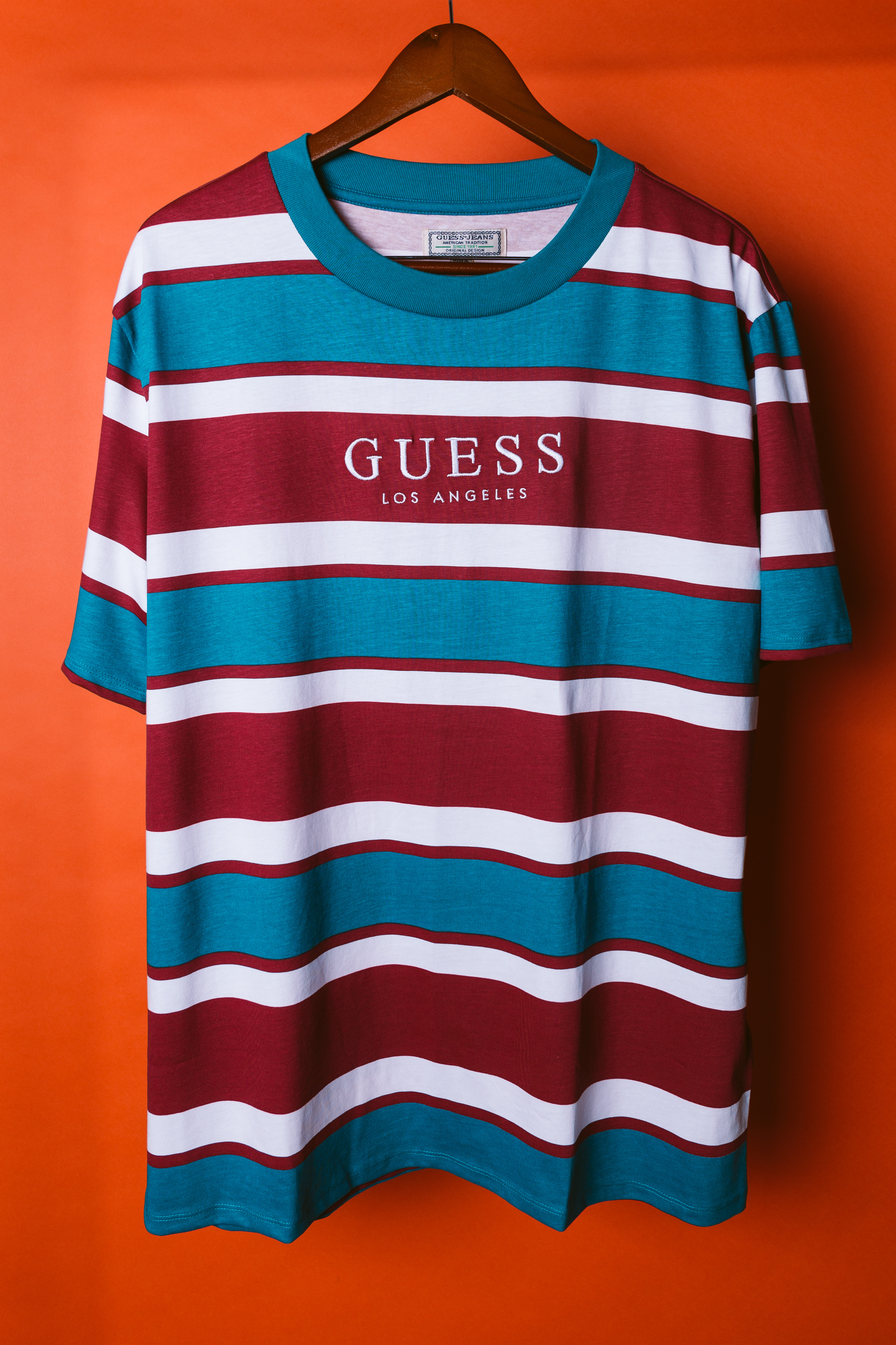 8d5f53420339 Guess Jeans Usa 1981 Capsule Striped T Shirt Asap Vintage Vertical ...