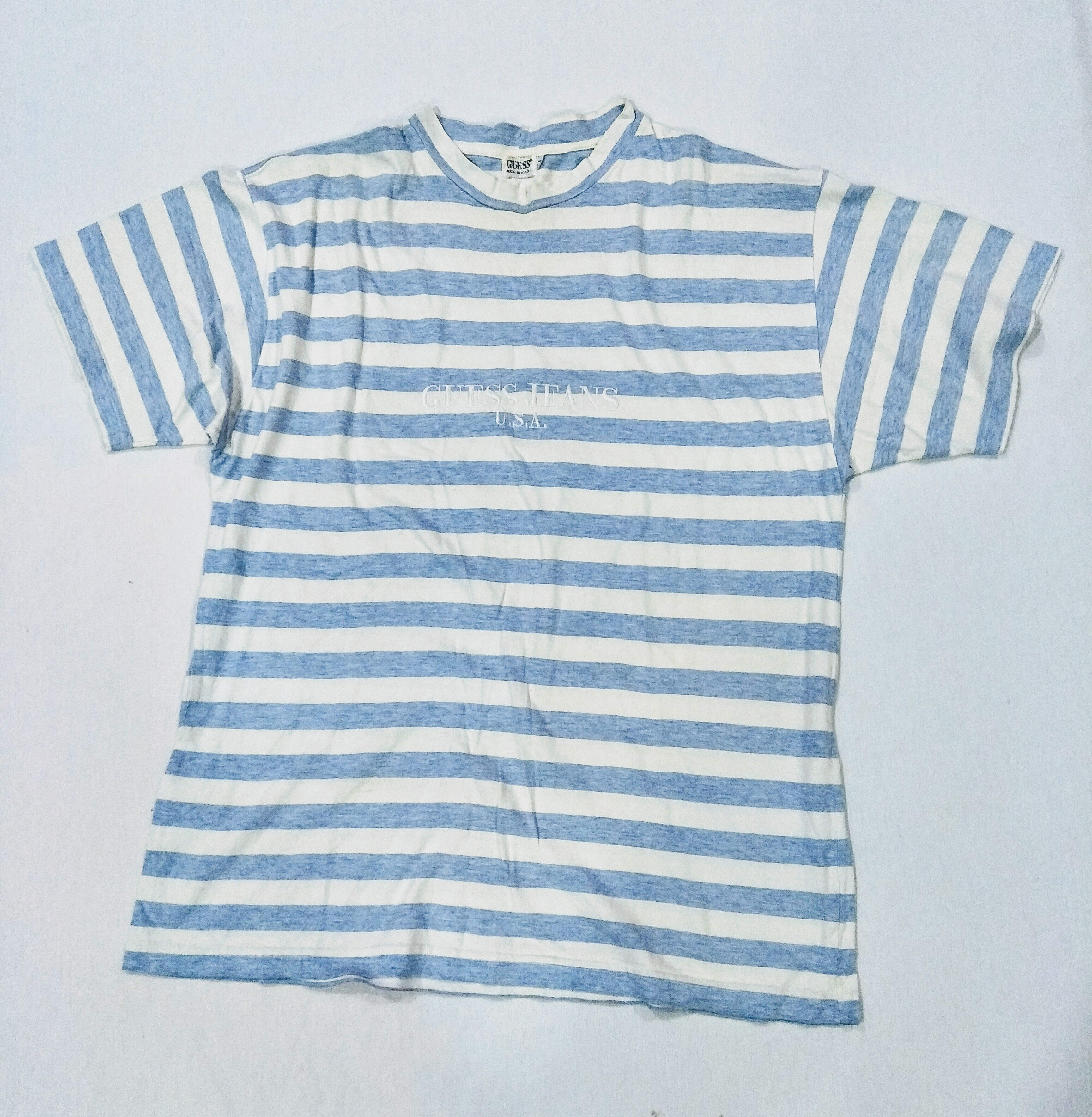 16797664 Guess Vintage Guess Jeans Usa T Shirt Baby Blue Stripe Embroided ...