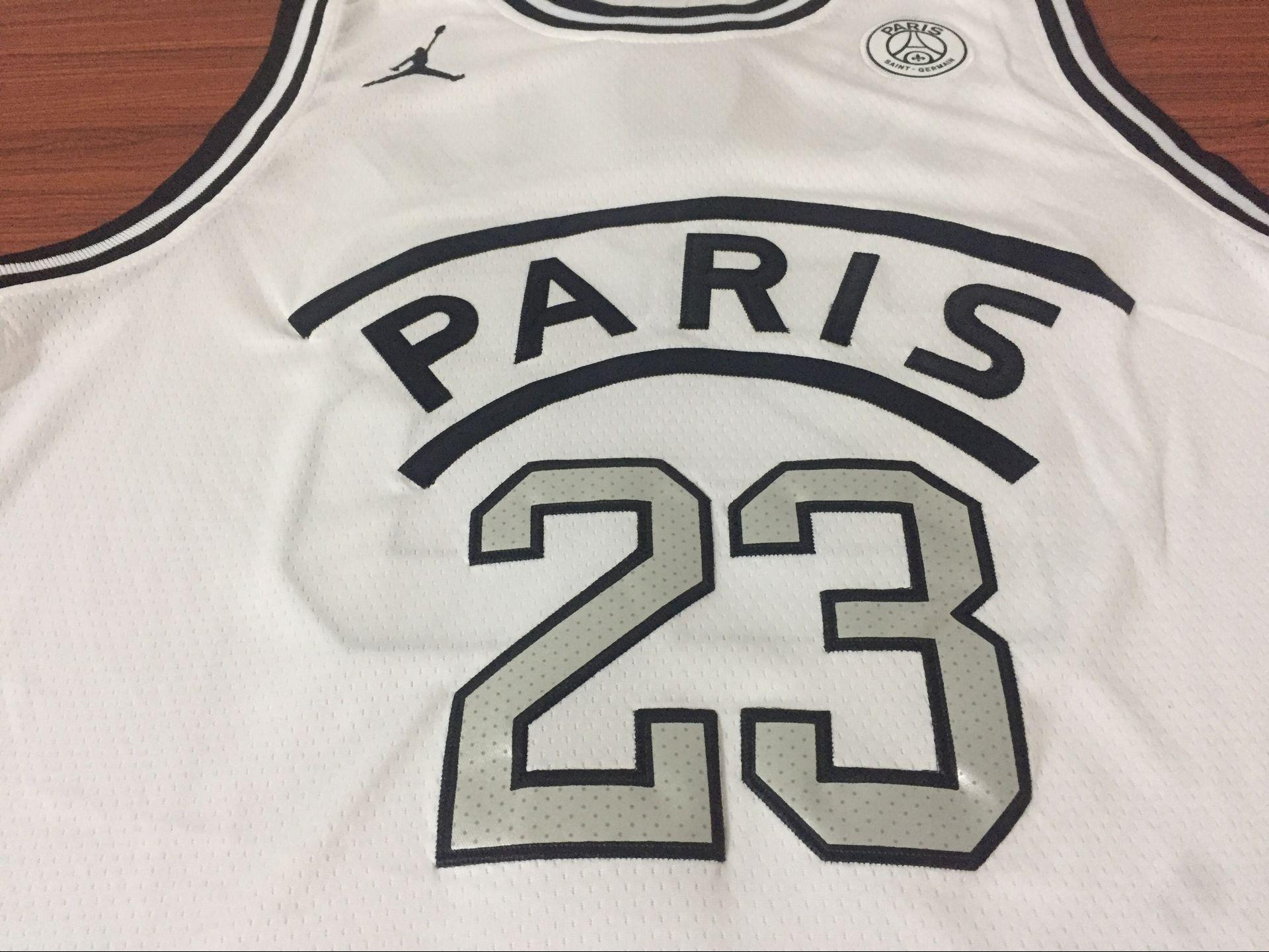 sports shoes 7830a fcaa5 PSG x Jordan White Basketball Jersey