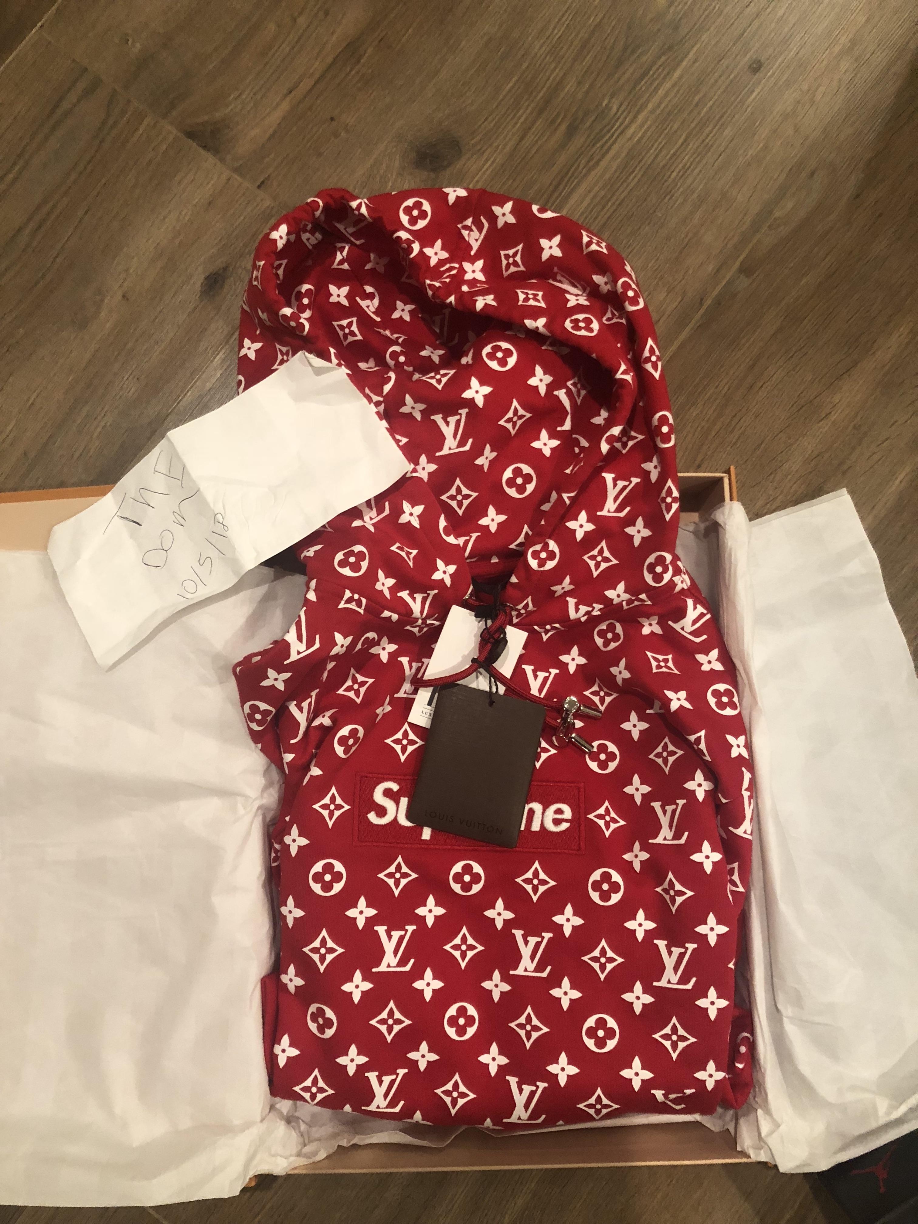 caa74875919 Supreme Louis Vuitton Red Monogram Box Logo Hoodie