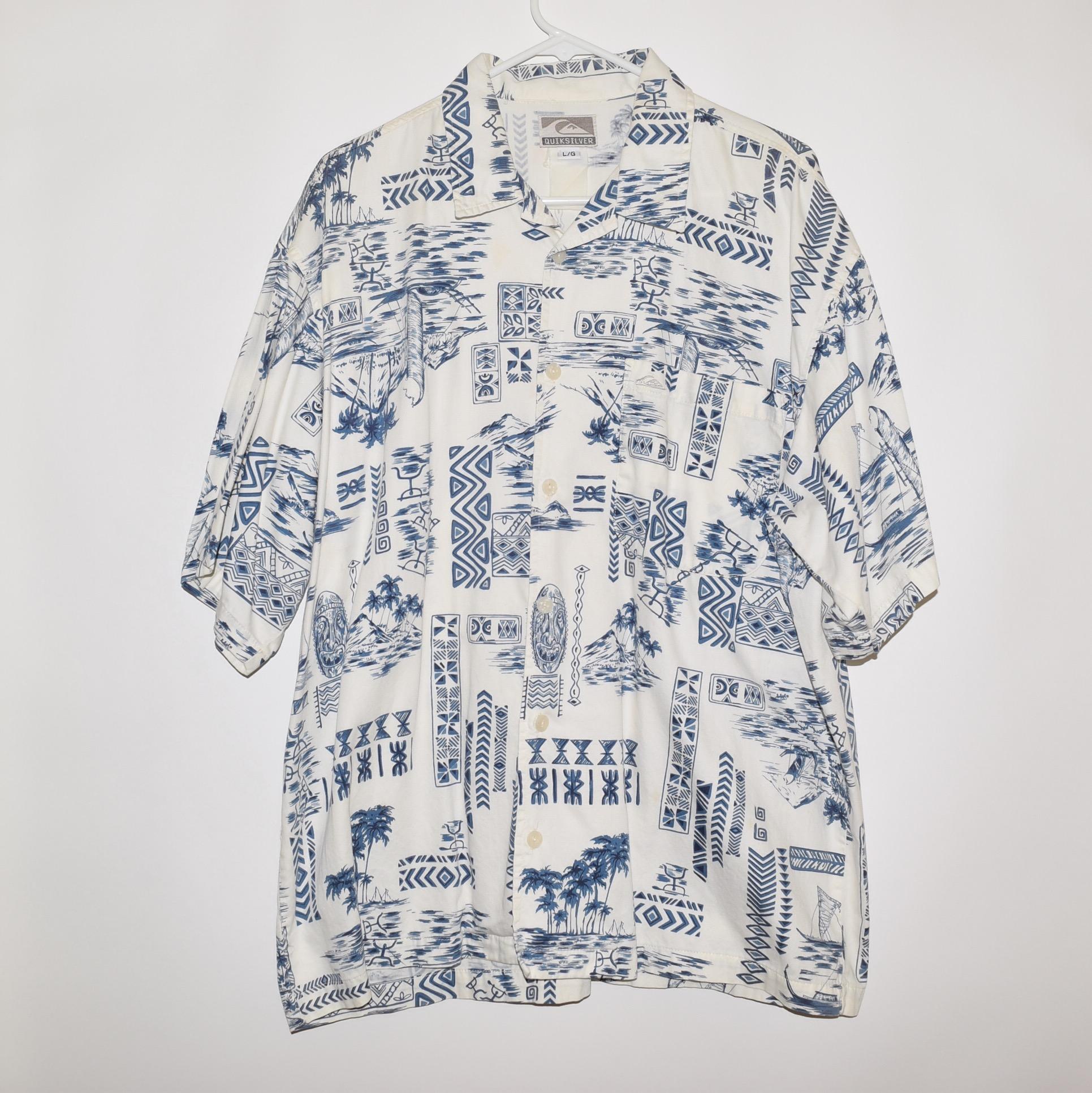 ff7909b9 Vintage × Quiksilver ×. Rare 90's VTG Vintage Quiksilver Men's Hawaiian  Short Sleeve Casual Shirt Large