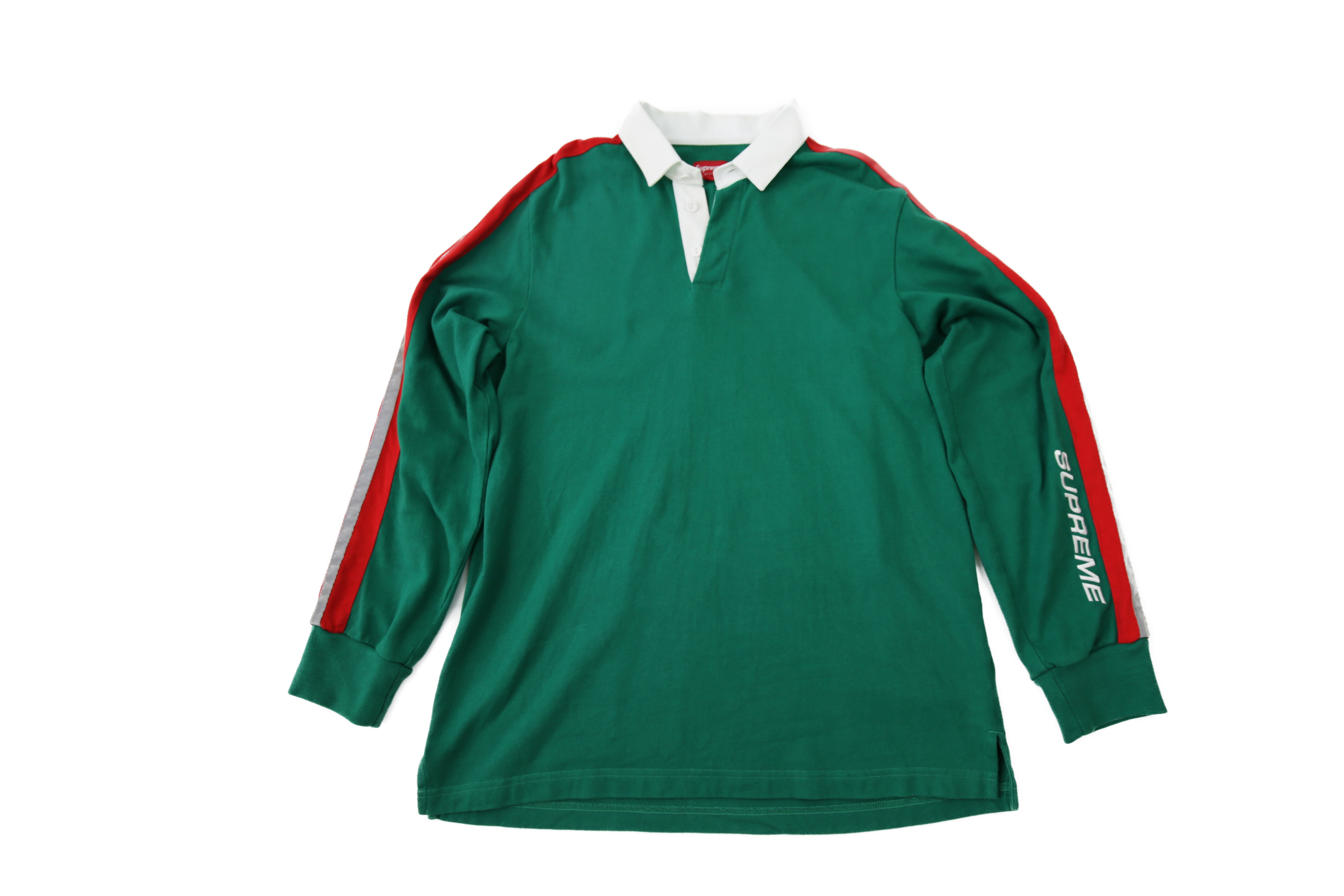 Supreme Used 18ss Rugby Reflective Long Sleeve Polo Shirt Green Red