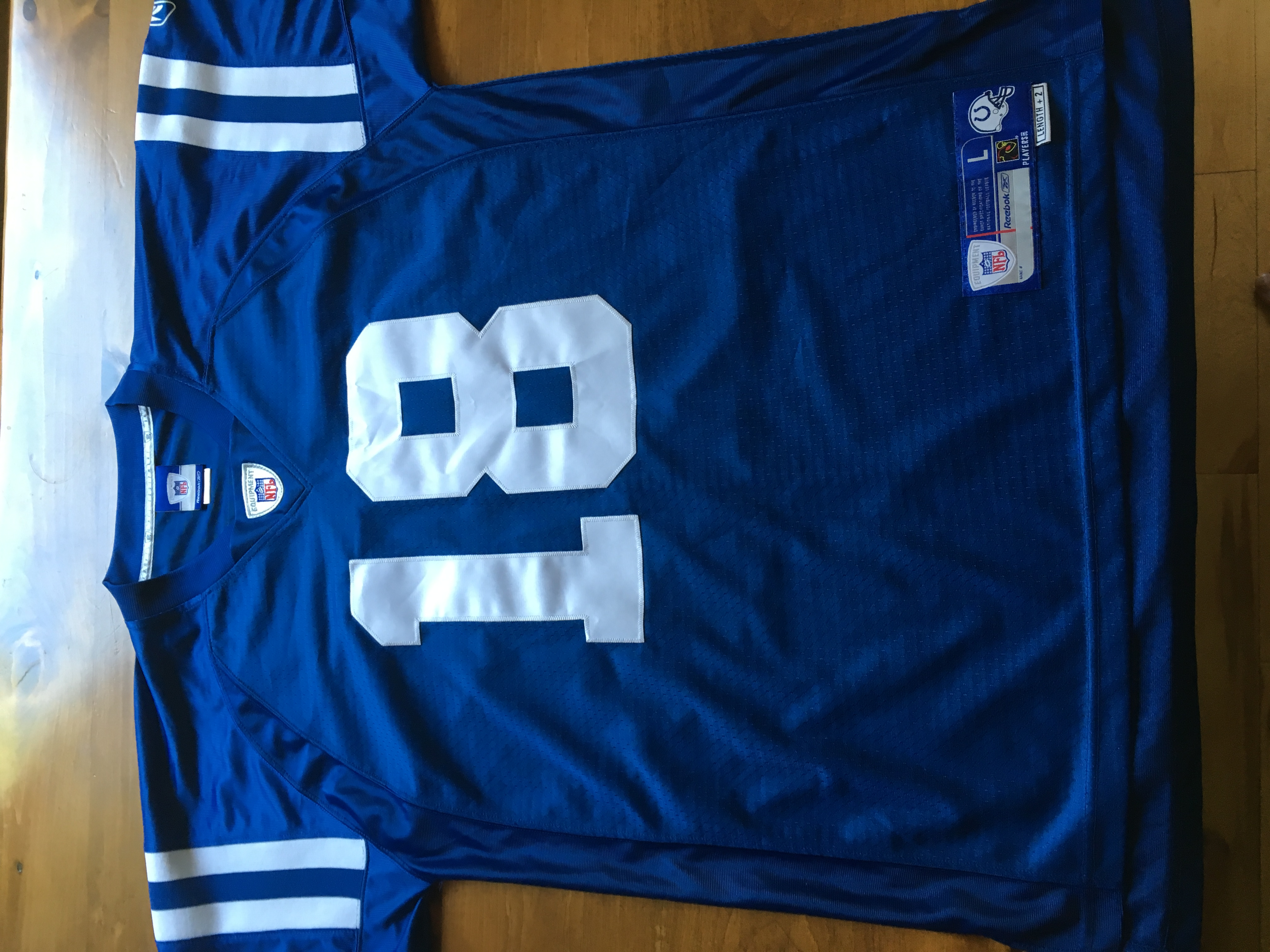 big sale a0803 2596b AUTHENTIC PEYTON MANNING BLUE COLTS SZ LARGE NFL REEBOK FOOTBALL JERSEY