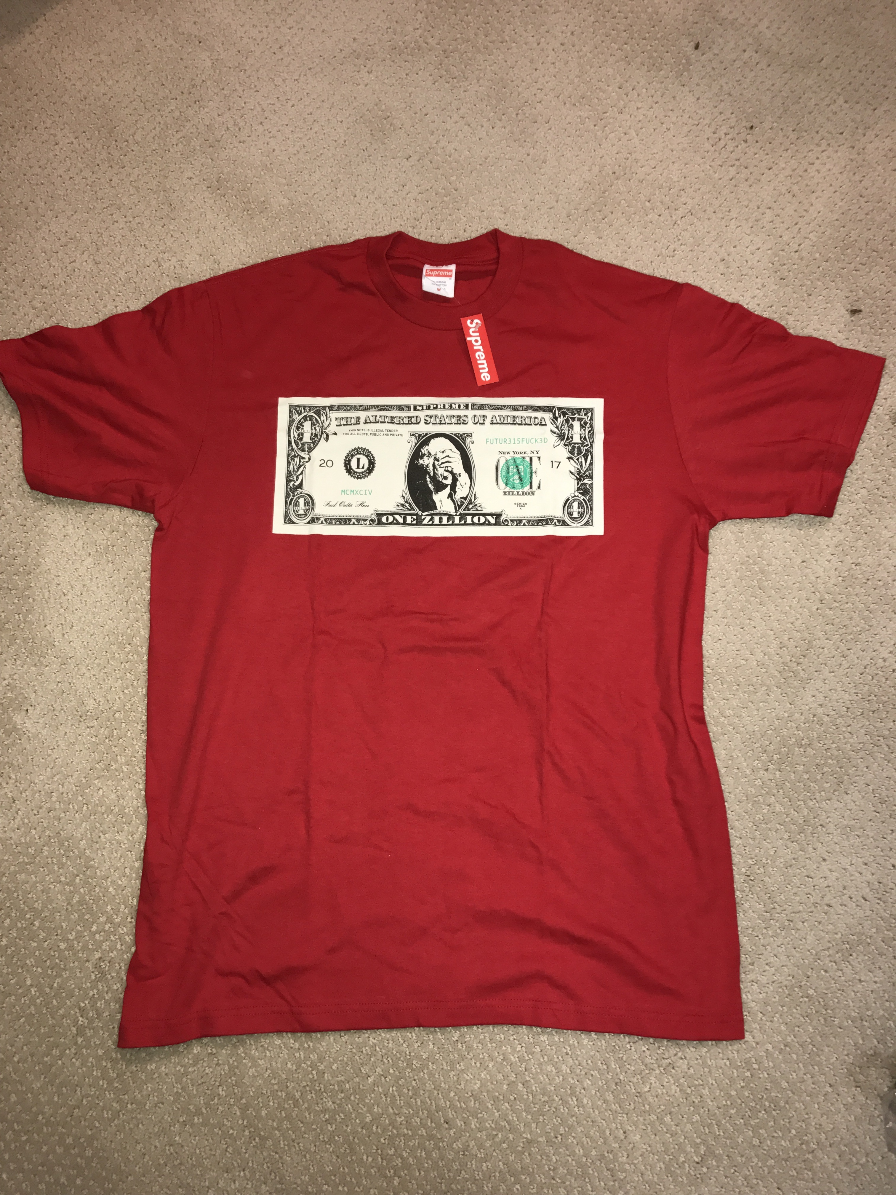 Supreme Red Dollar Tee Size M Short Sleeve T Shirts For Grailed