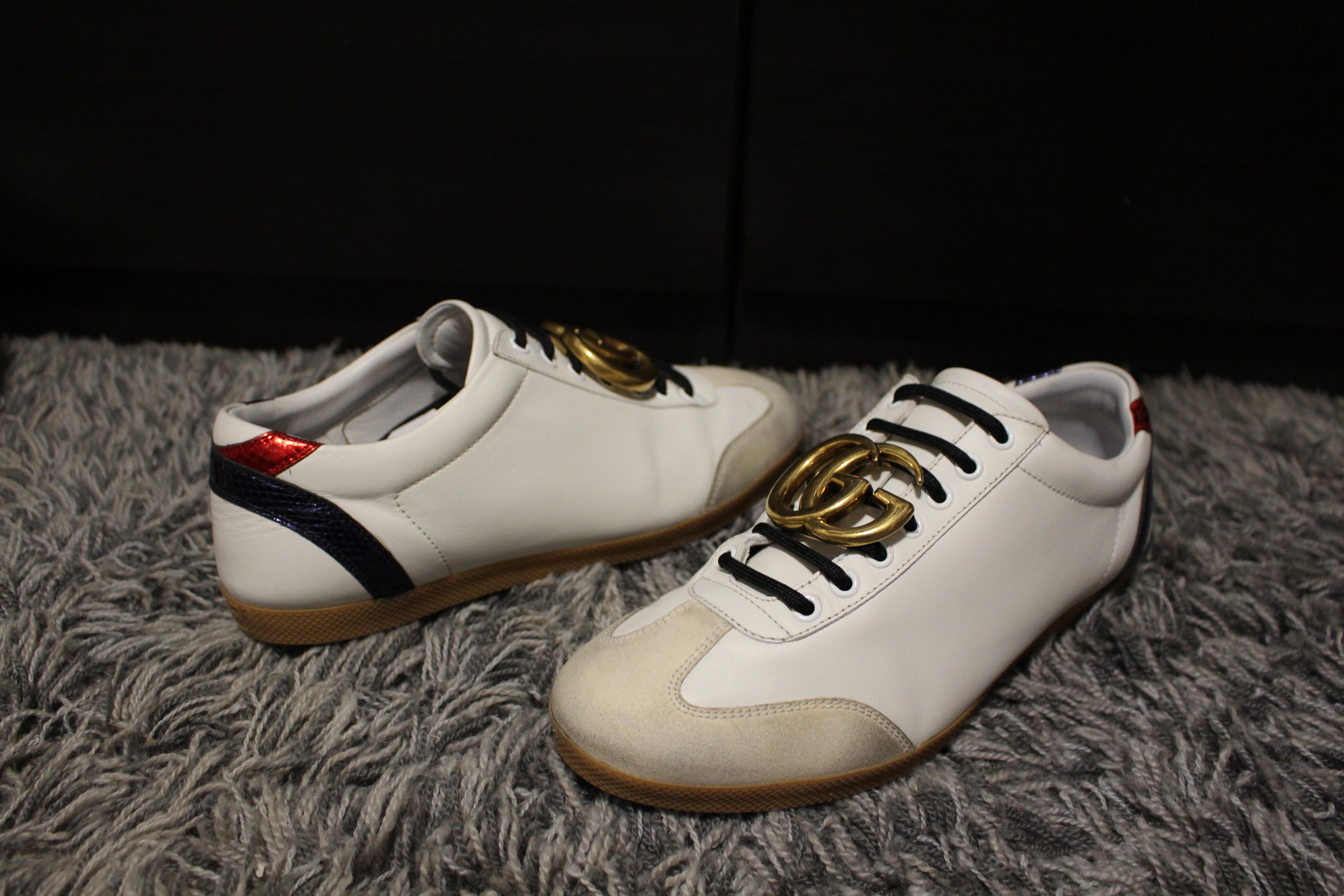76eb9ca47 Gucci ×. Gucci Buckle Web Sneakers. Size: US 8.5 ...