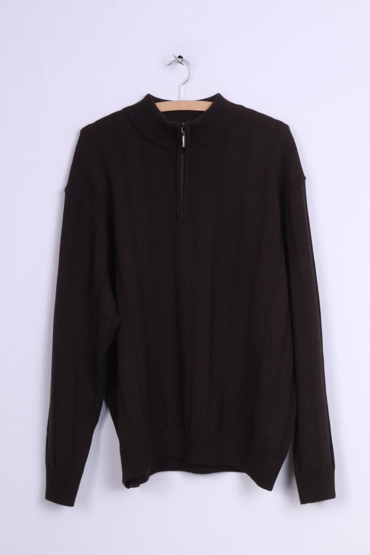 Marks & Spencer Mens L Jumper Sweater Brown Zip Neck Merino Wool 3601