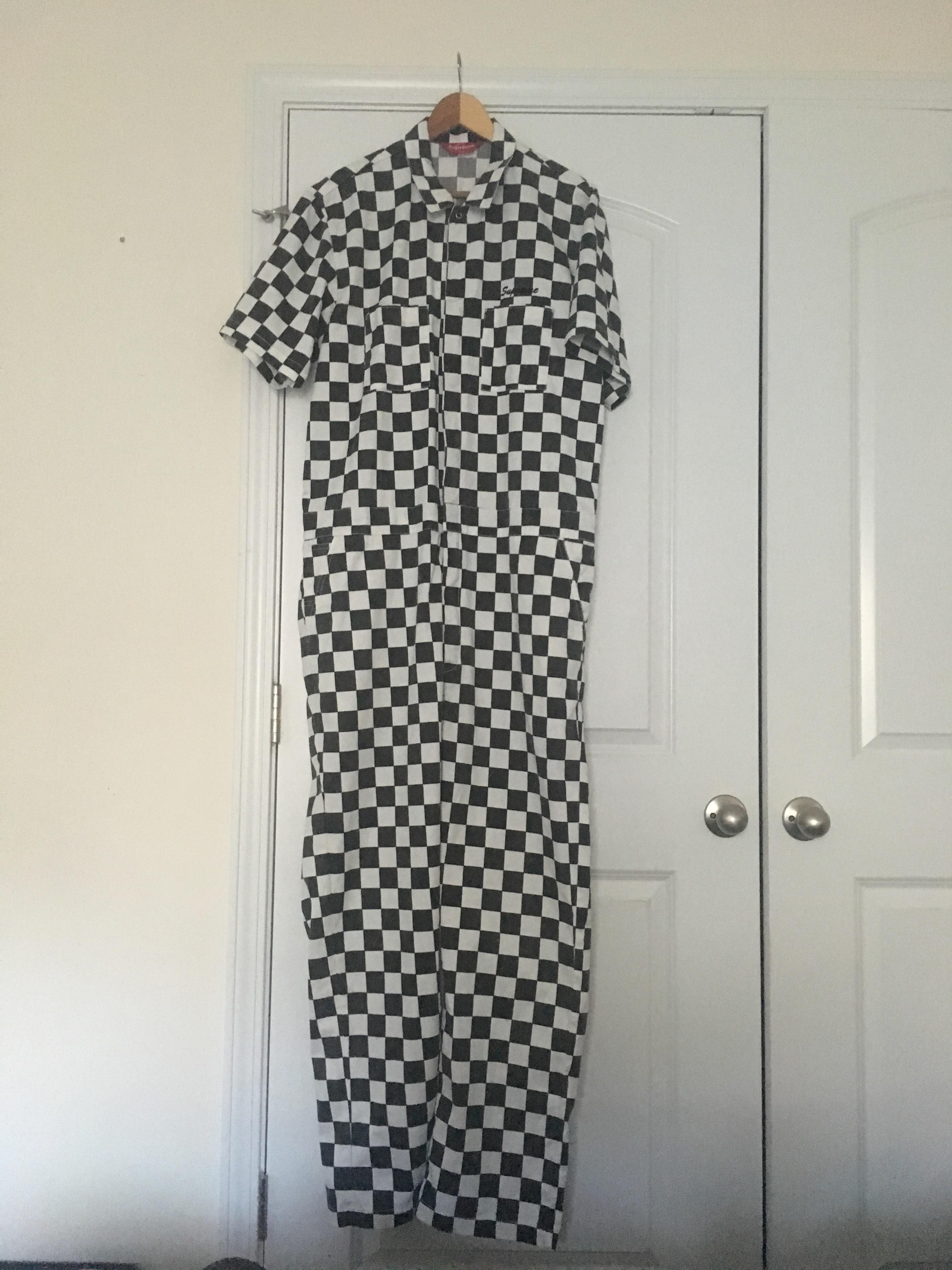 f0a9f5eb48bb Supreme Supreme Checkered Coveralls, Size L Ds   Grailed