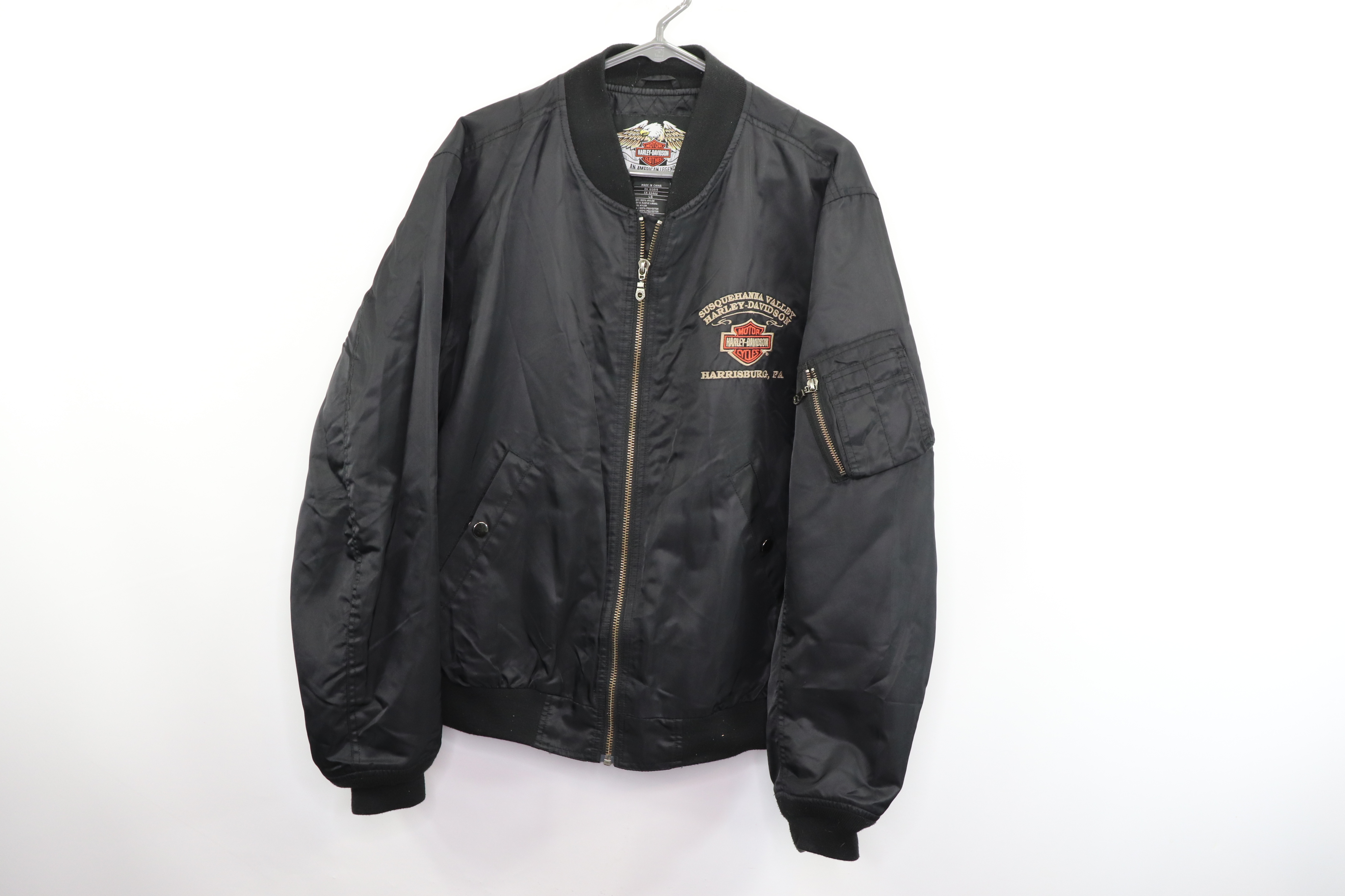 4e52beaa5 Vintage Harley Davidson Motorcycles Mens Large Spell Out Satin Bomber Jacket