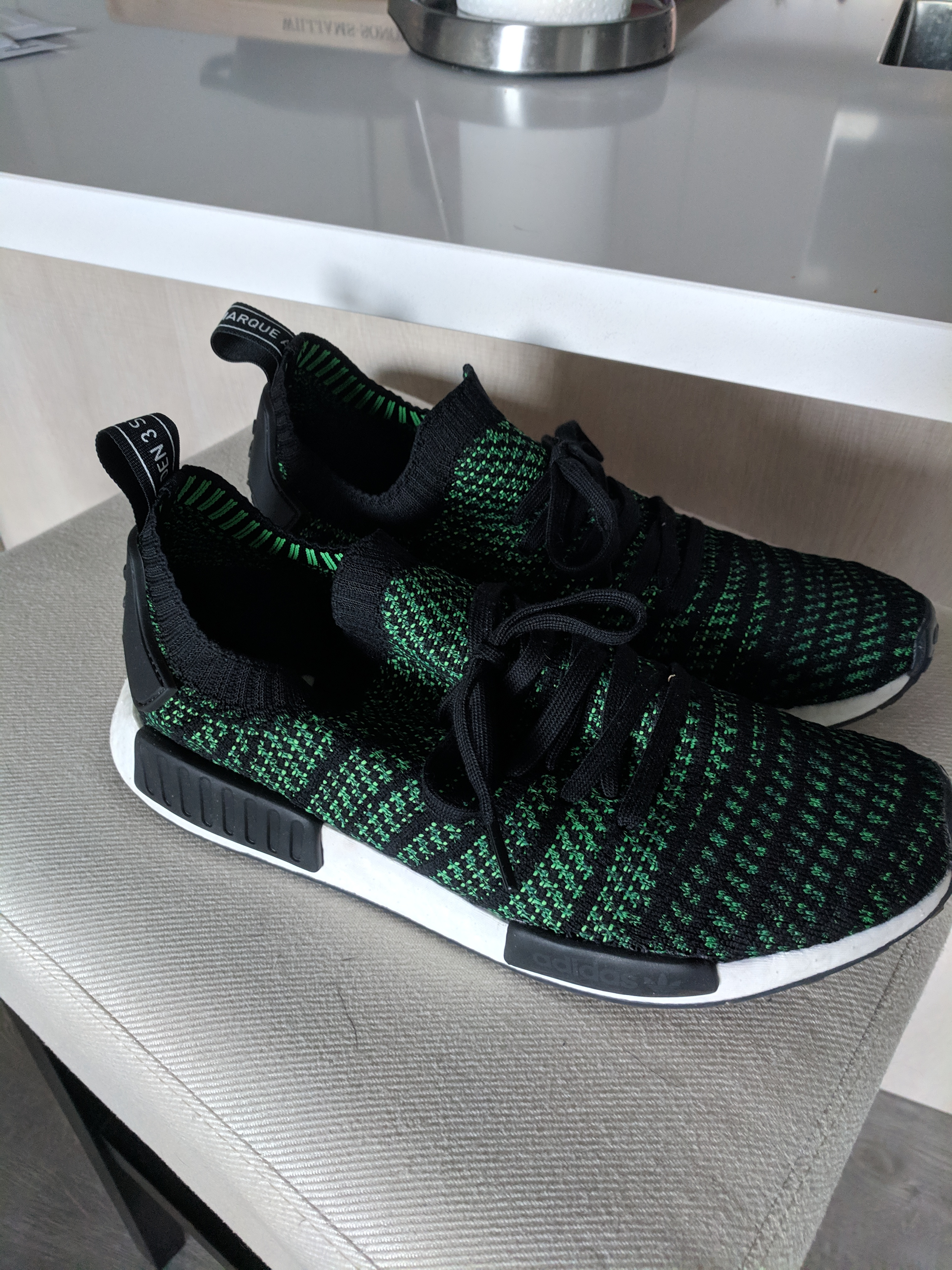 brand new 492af 1435b adidas NMD R1 STLT Stealth Pack Noble Green
