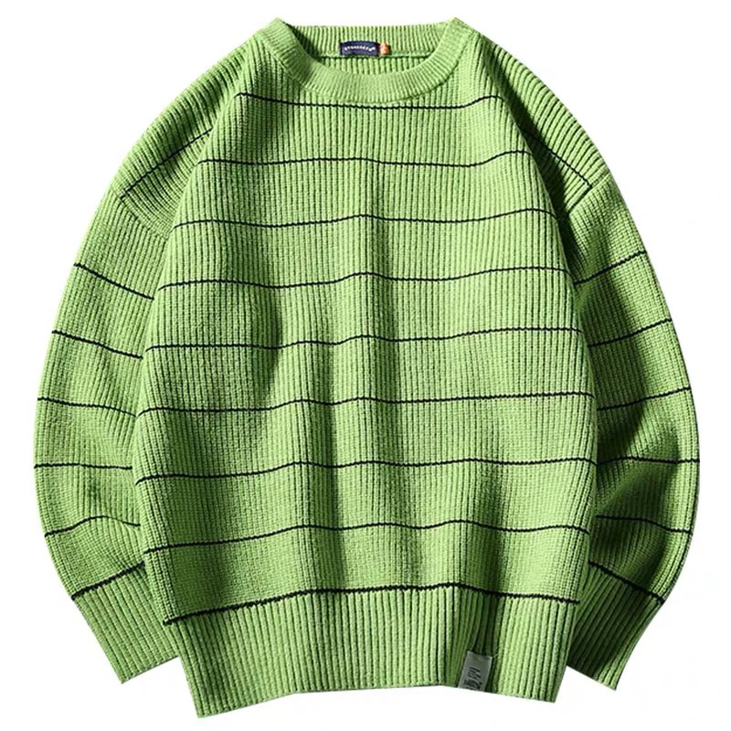 2019AW Simple Blue Japan Green Striped Sweater