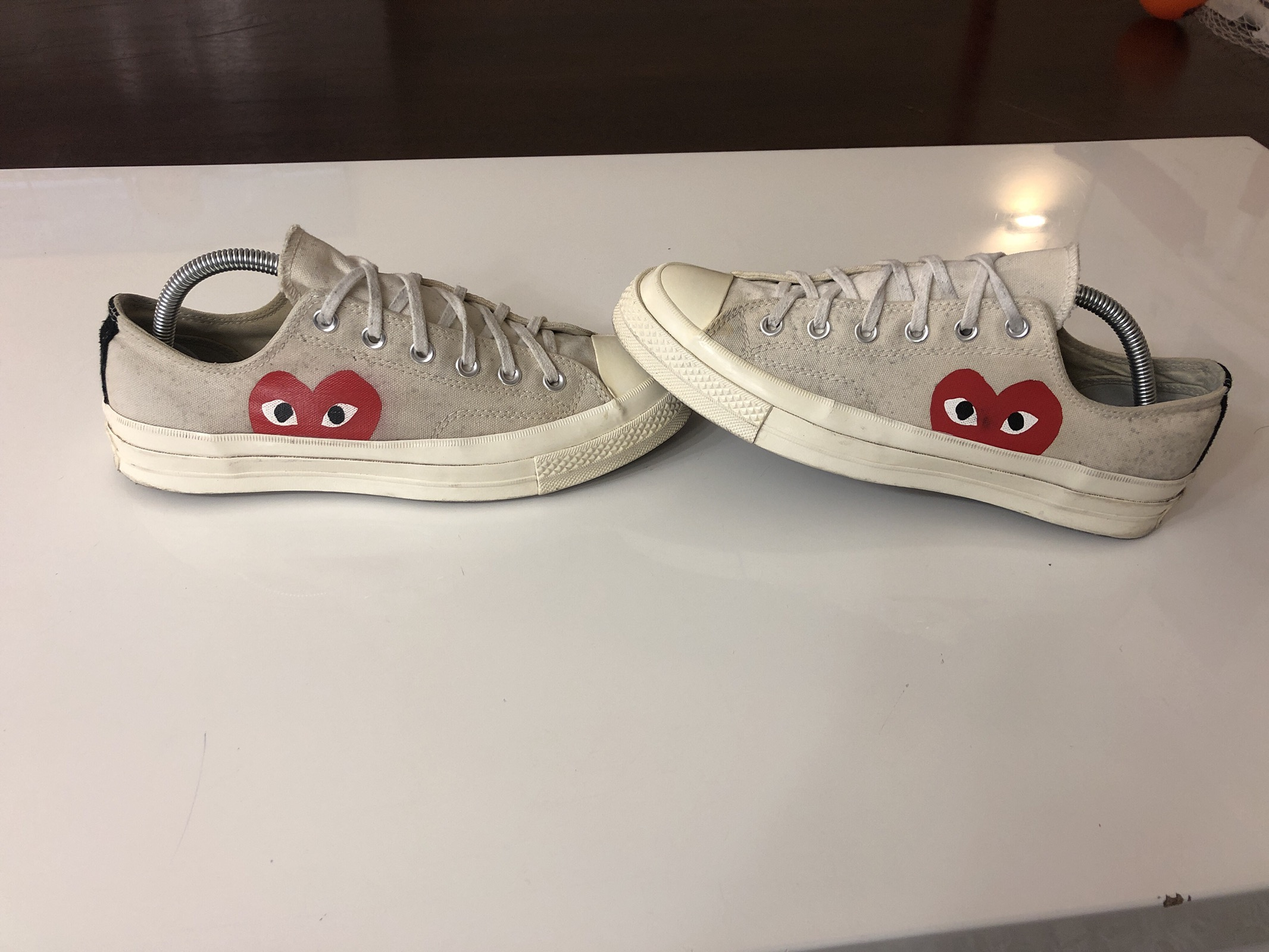 Comme Des Garçons Play Converse White Low Heart Eyes Sz 8 Cdg Cdgs Steal Red Off