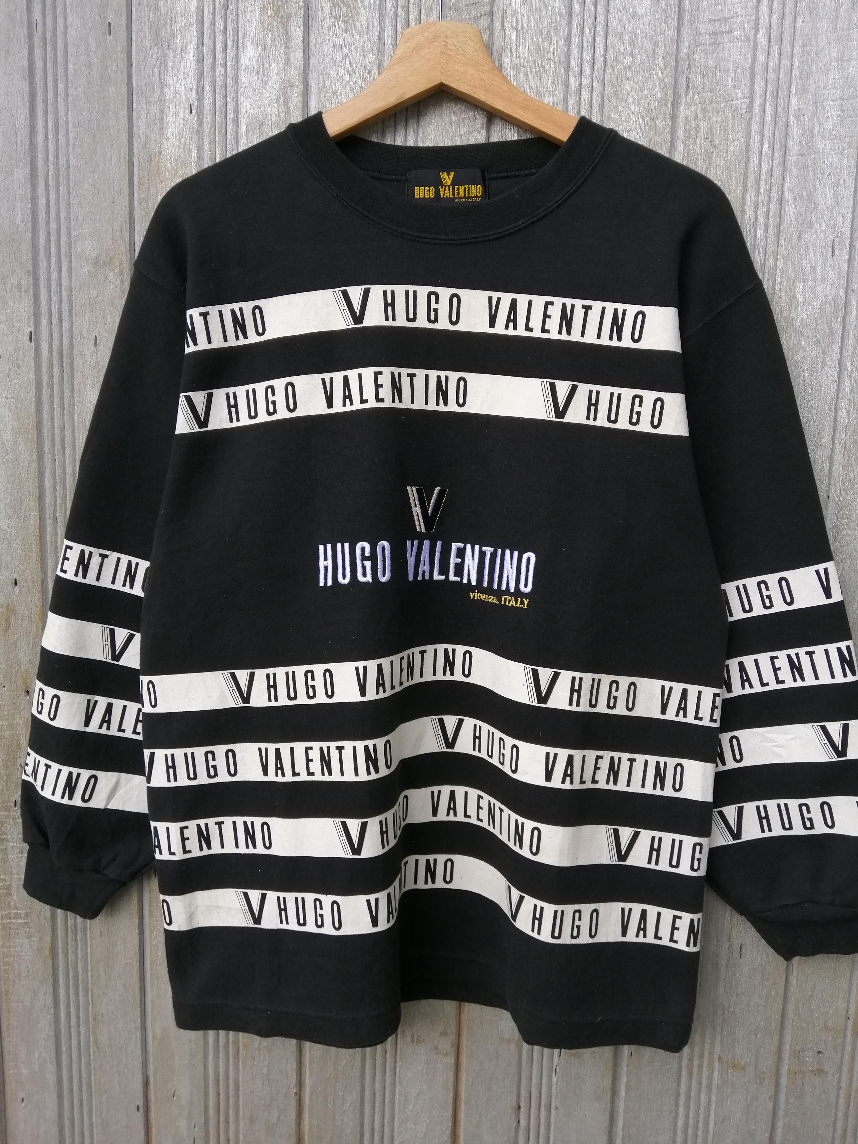 Rare!! Vintage Hugo Valentino Italy Sweatshirt Big Logo Embroidery Pullover Crewneck Valentino Italy