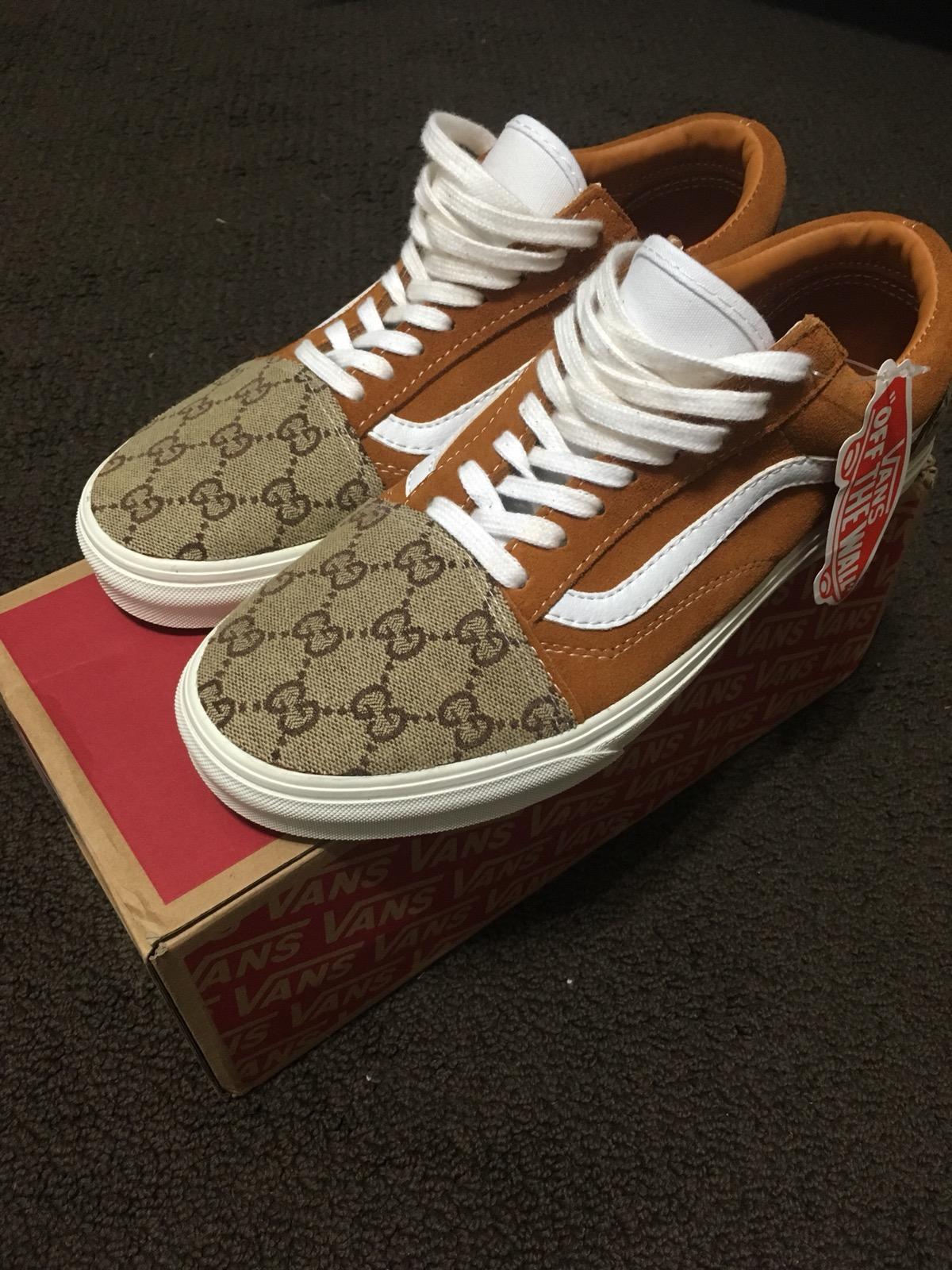 Vans Custom Gucci Vans Brown Old Skool Size 10 - Low-Top Sneakers for Sale  - Grailed df524c1cc